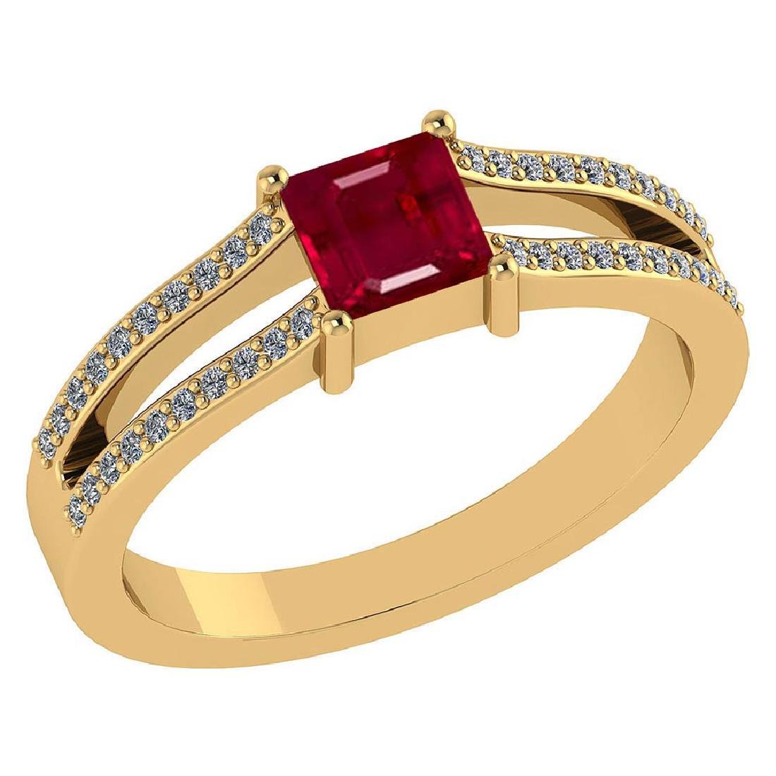Certified .70 CTW Genuine Ruby And Diamond (G-H/SI1-SI2