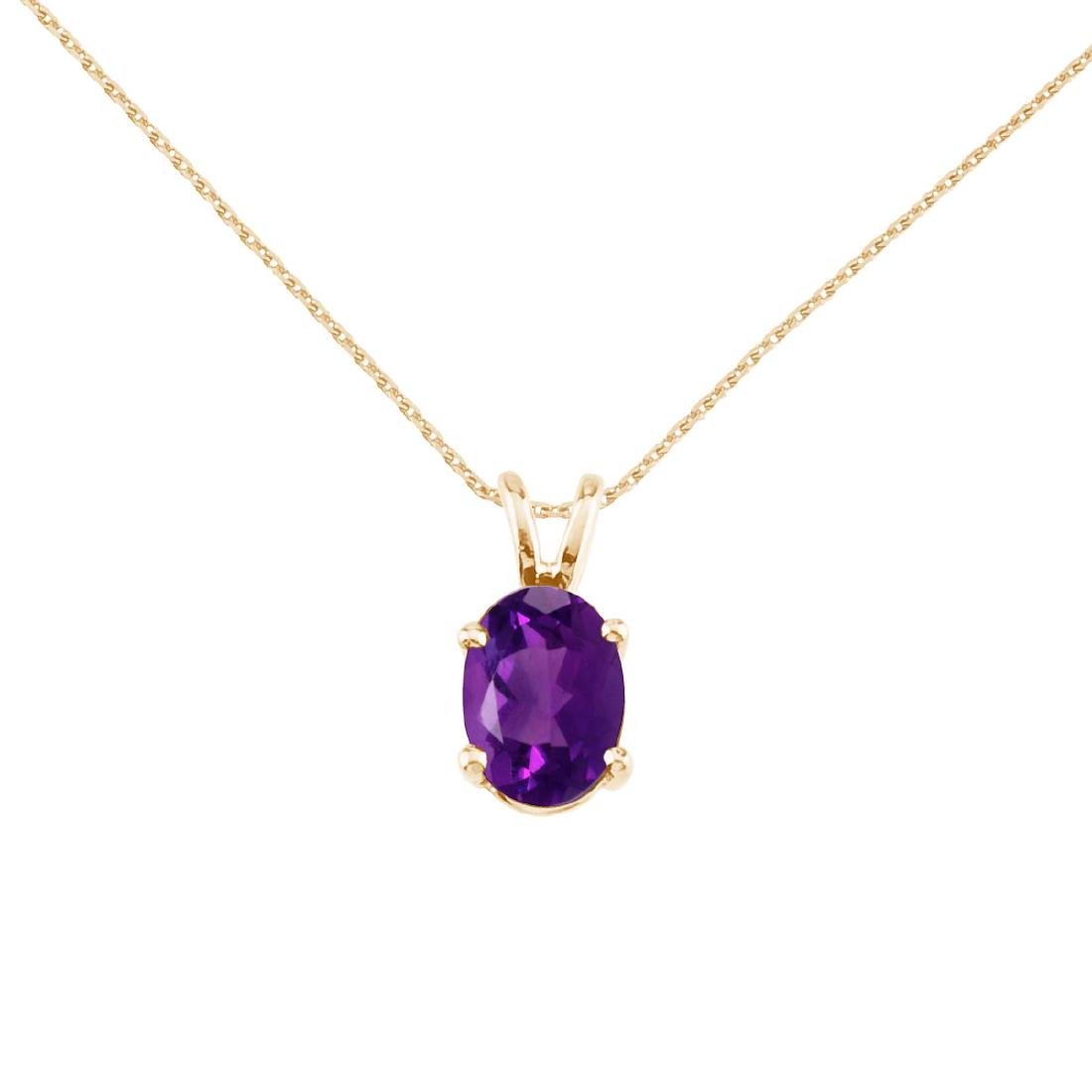 Certified 14k Yellow Gold Oval Amethyst Pendant 0.8 CTW