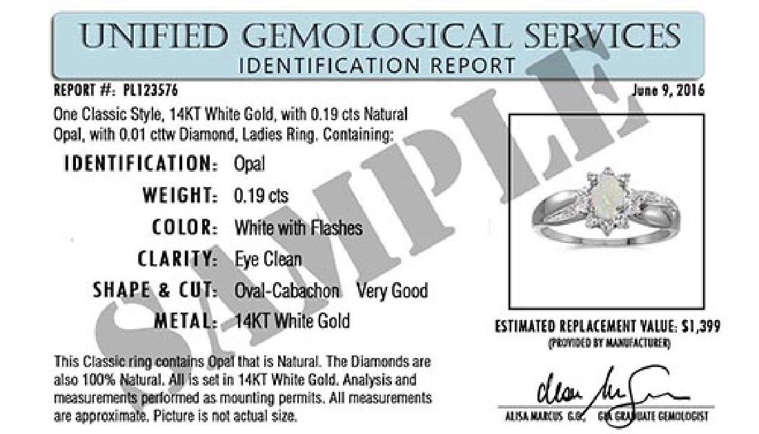 Certified 10k White Gold Oval Sapphire And Diamond Ring - 2