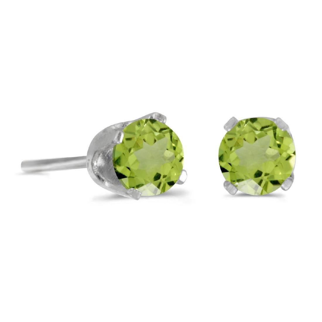 Certified 4 mm Round Peridot Stud Earrings in Sterling