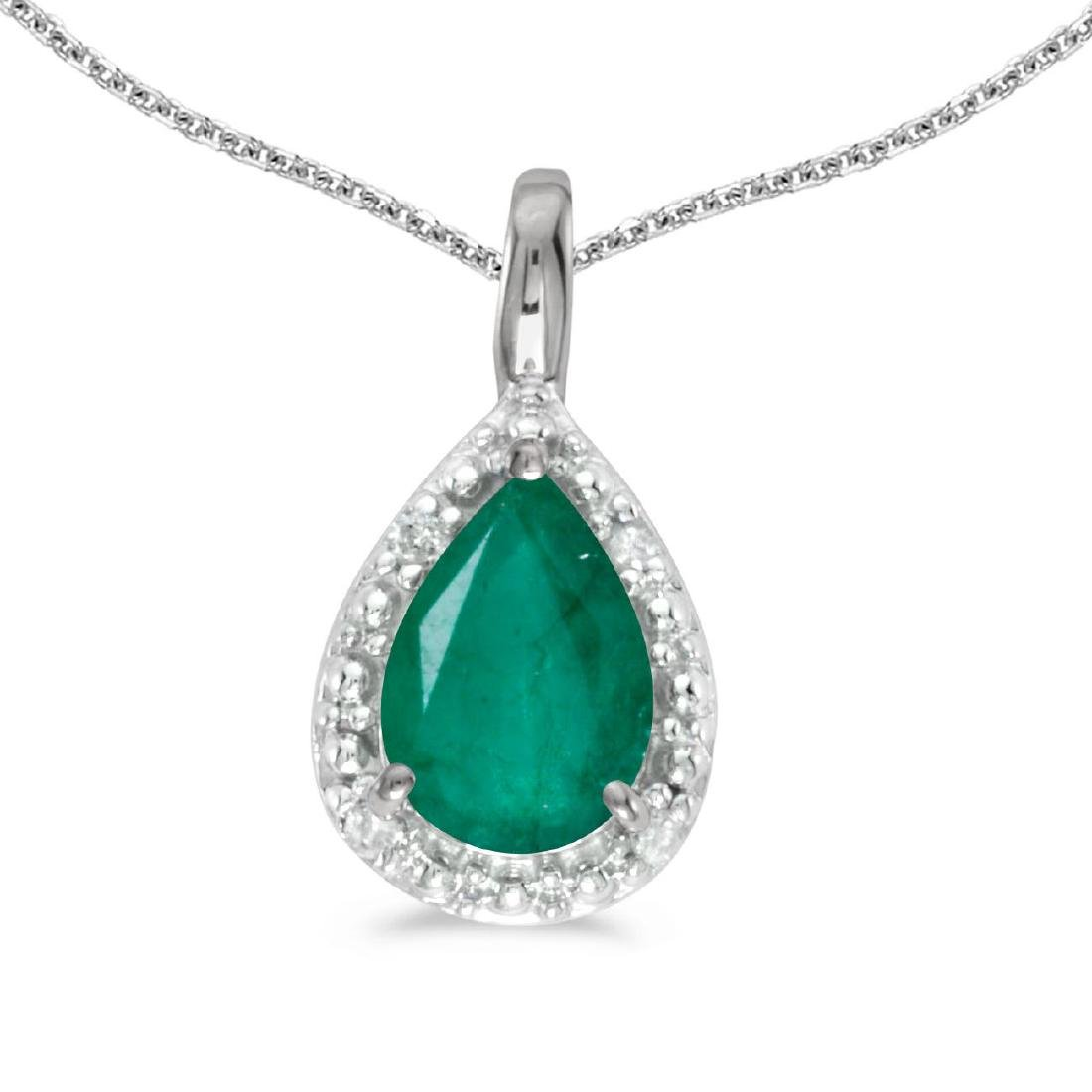Certified 10k White Gold Pear Emerald Pendant 0.64 CTW