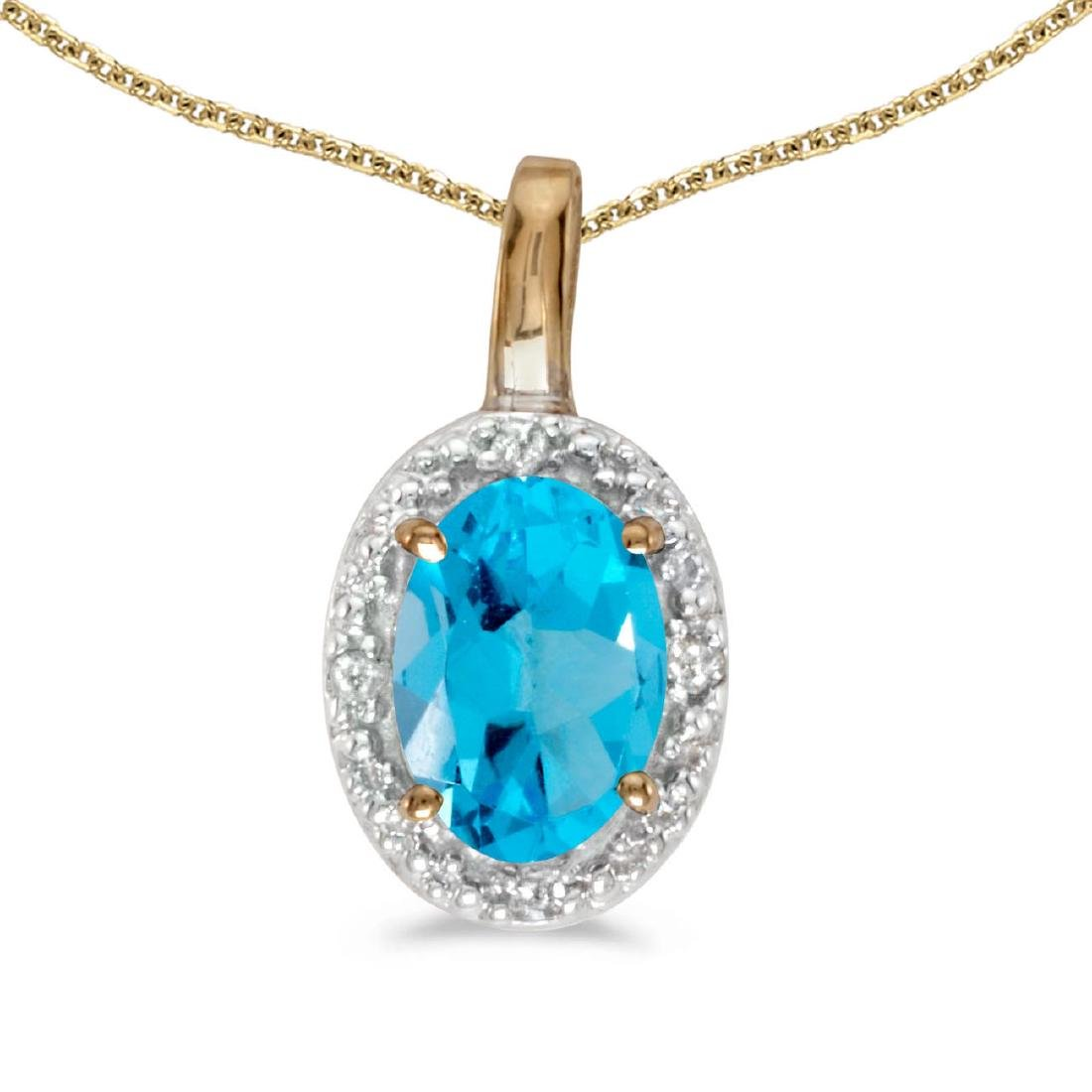 Certified 10k Yellow Gold Oval Blue Topaz And Diamond P