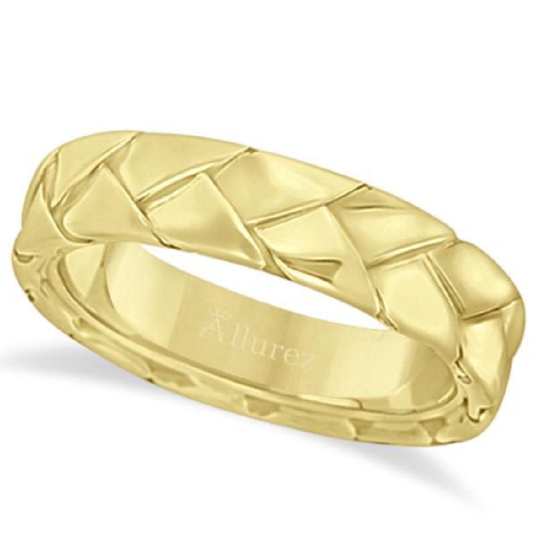 Mens High Polish Braided Handwoven Wedding Ring 14k Ye