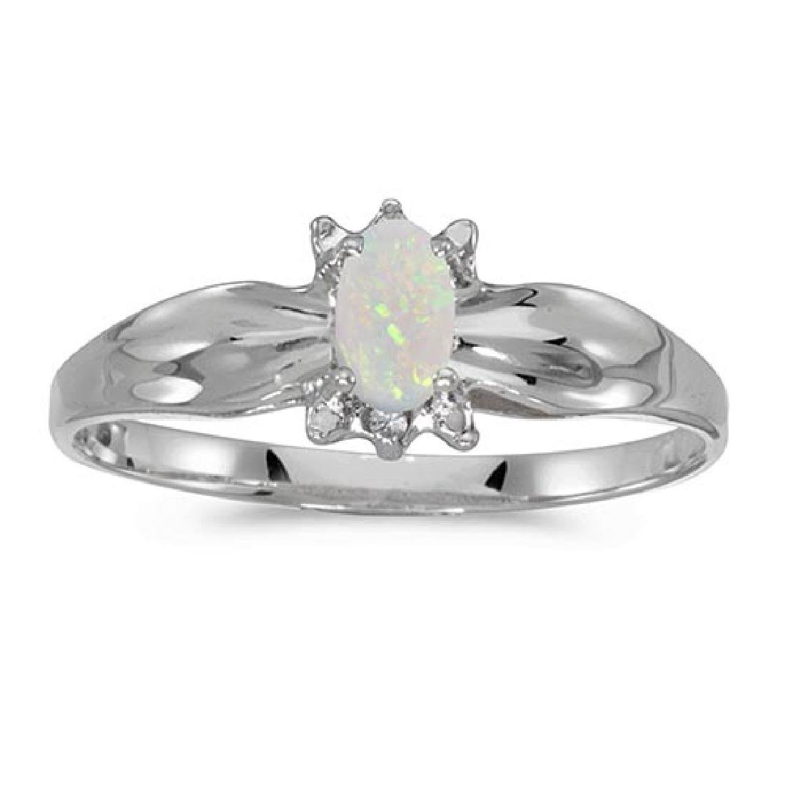 Certified 14k White Gold Oval Opal And Diamond Ring