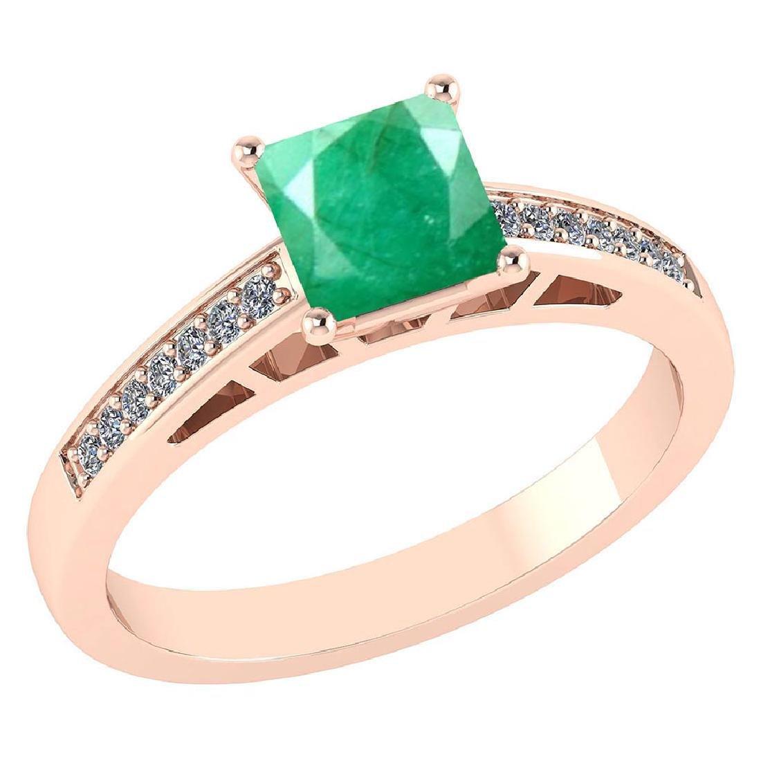 Certified .98 CTW Genuine Emerlad And Diamond 14K Rose