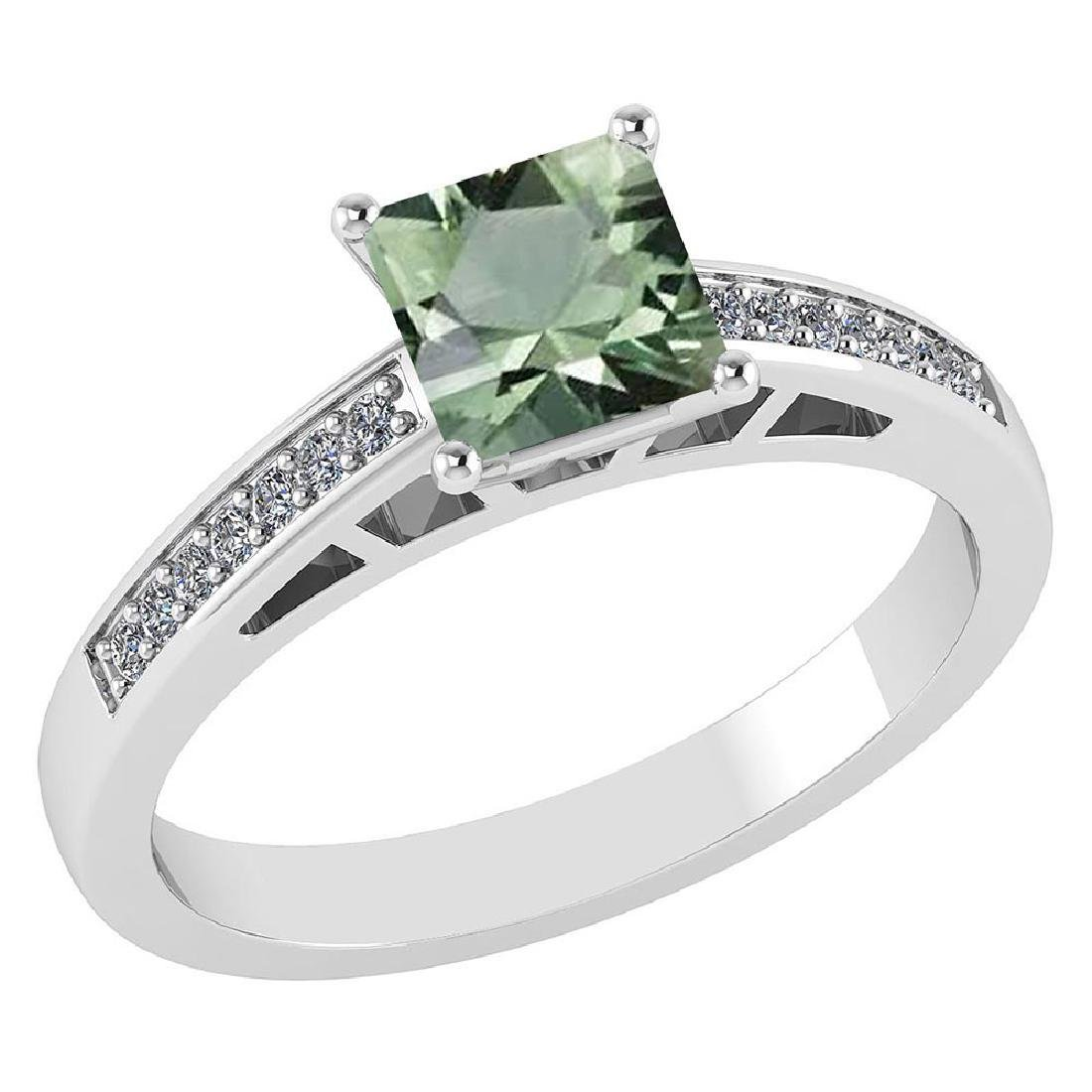 Certified .98 CTW Genuine Green Amethyst And Diamond 14