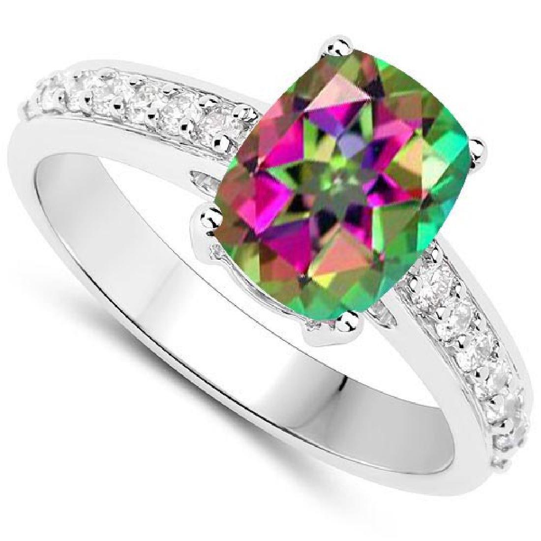 Certified 5.38 CTW Genuine Mystic Topaz And Diamond 14K