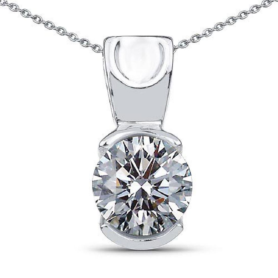 Certified .75 CTW Round Diamond 14K White Gold Pendant