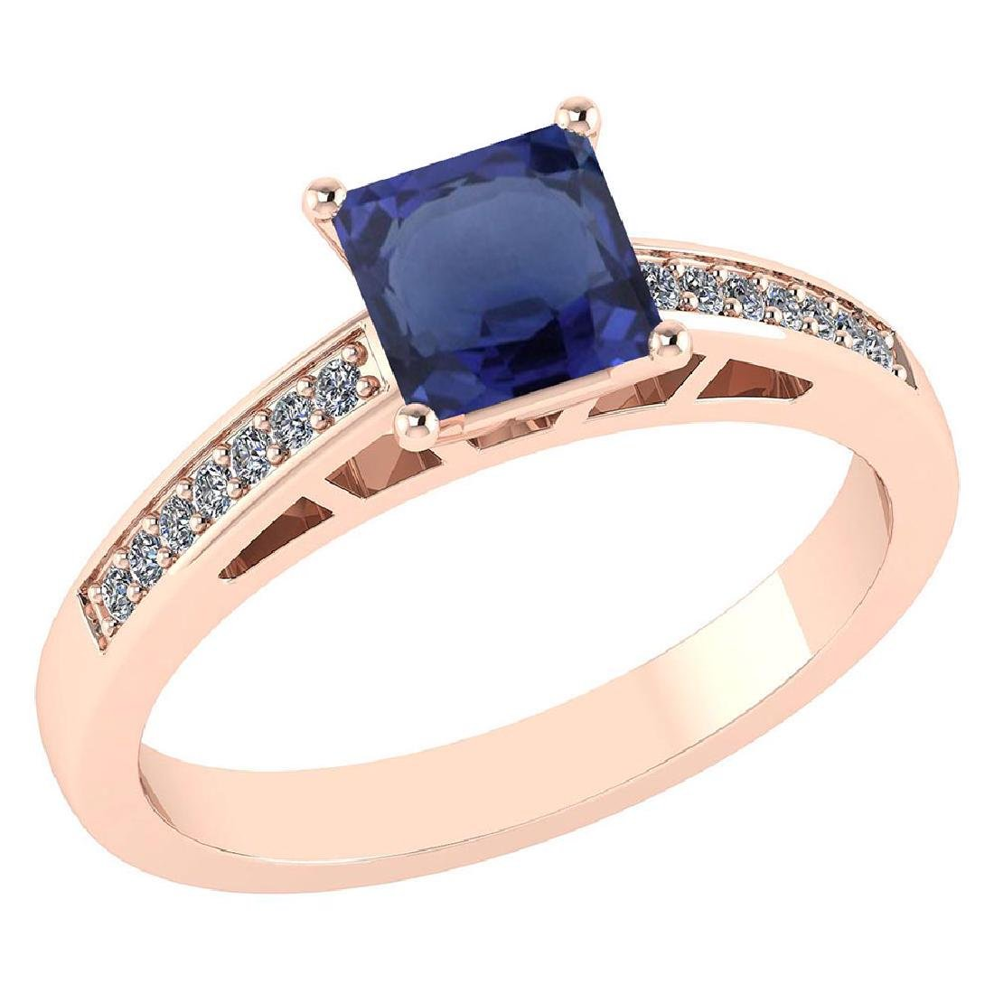 Certified .98 CTW Genuine Blue Sapphire And Diamond 14K