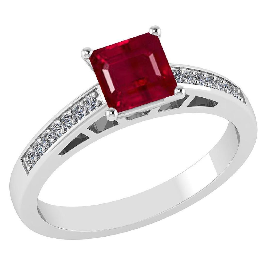 Certified .98 CTW Genuine Ruby And Diamond 14K White Go