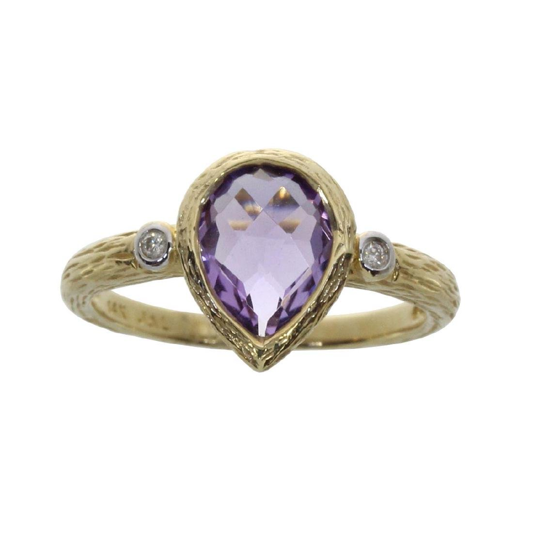 Certified 14k Yellow Gold Pear Shaped Amethyst and Diam