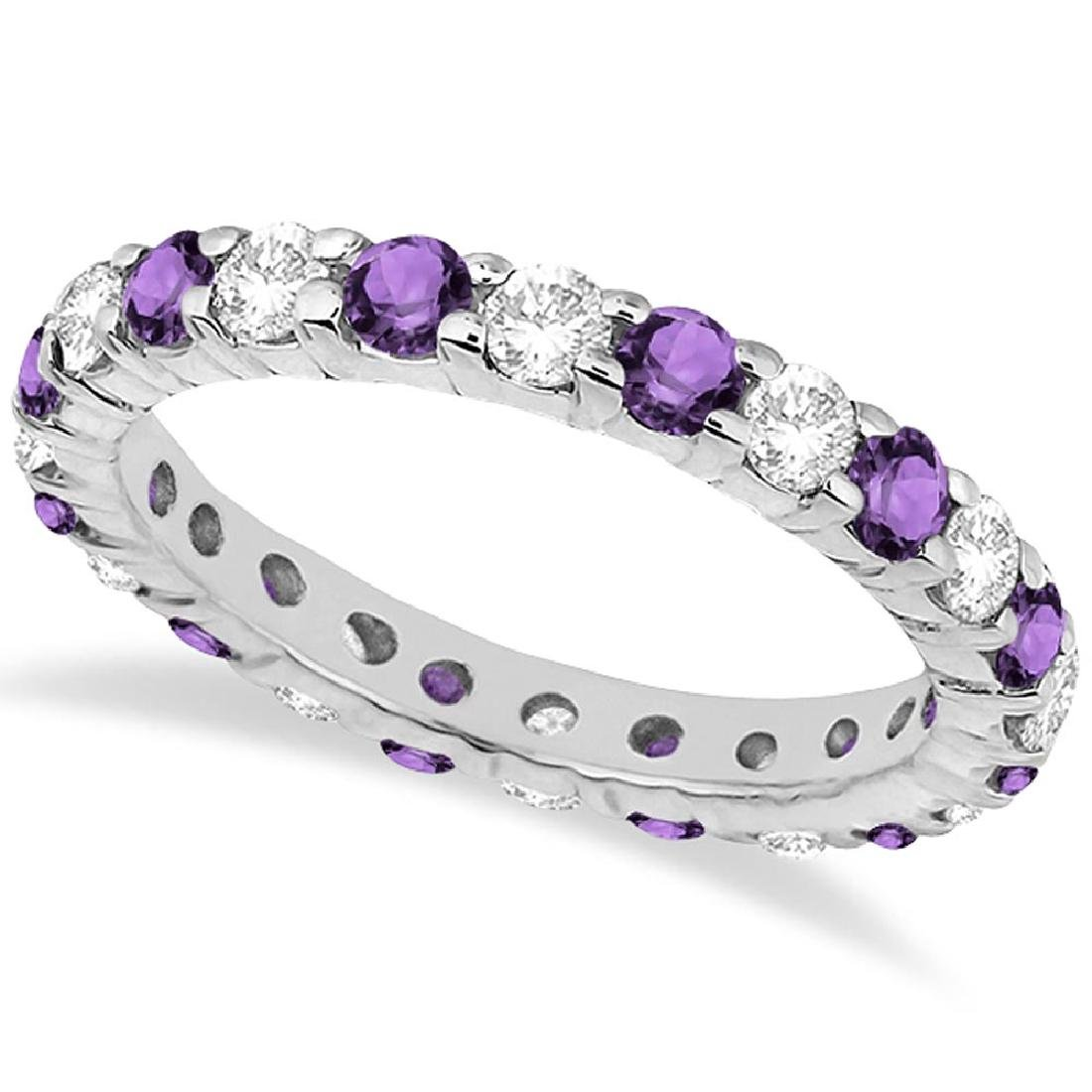 Eternity Diamond and Amethyst Ring Band 14k White Gold