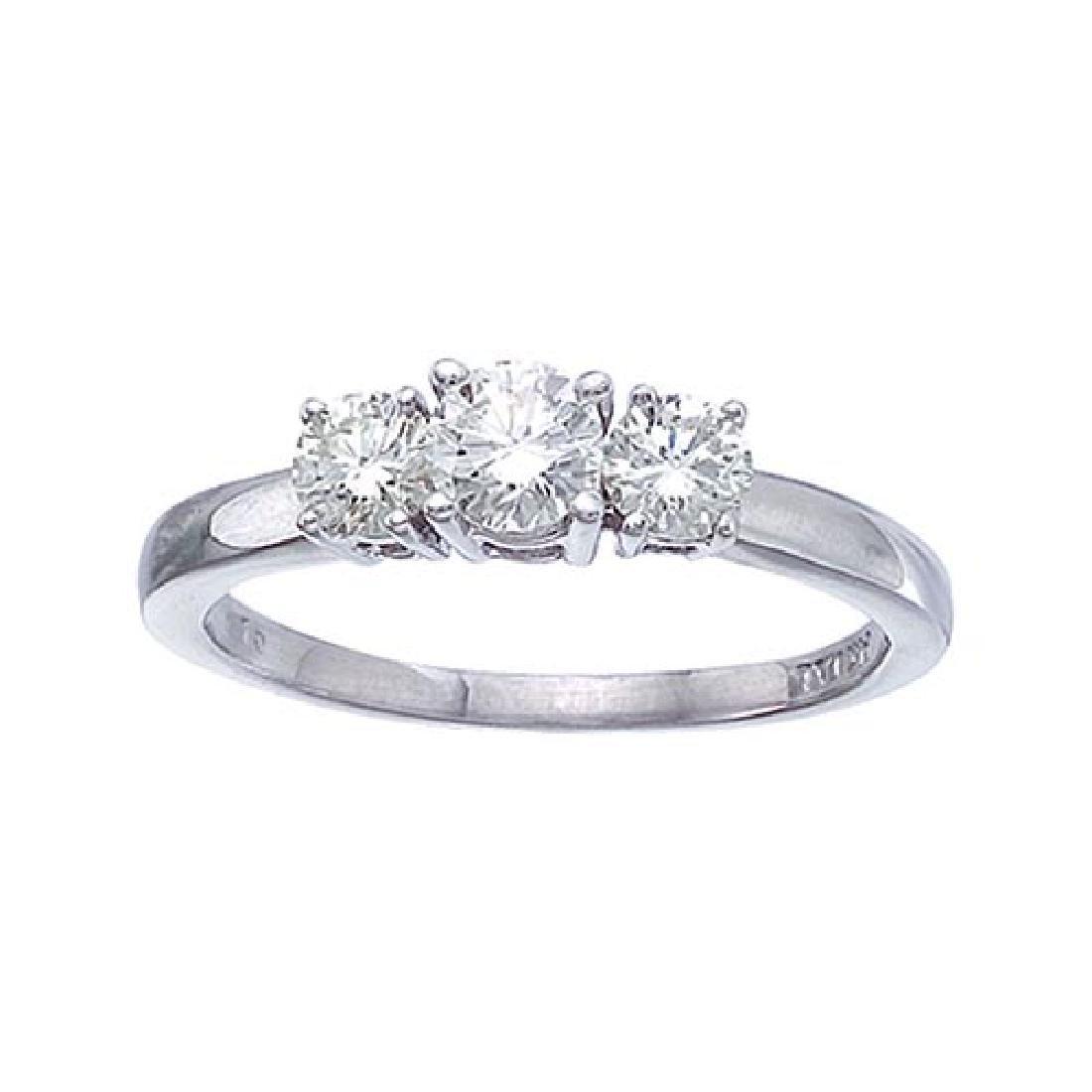 Certified 14k White Gold 0.75 Ct Three Stone Diamond Ri