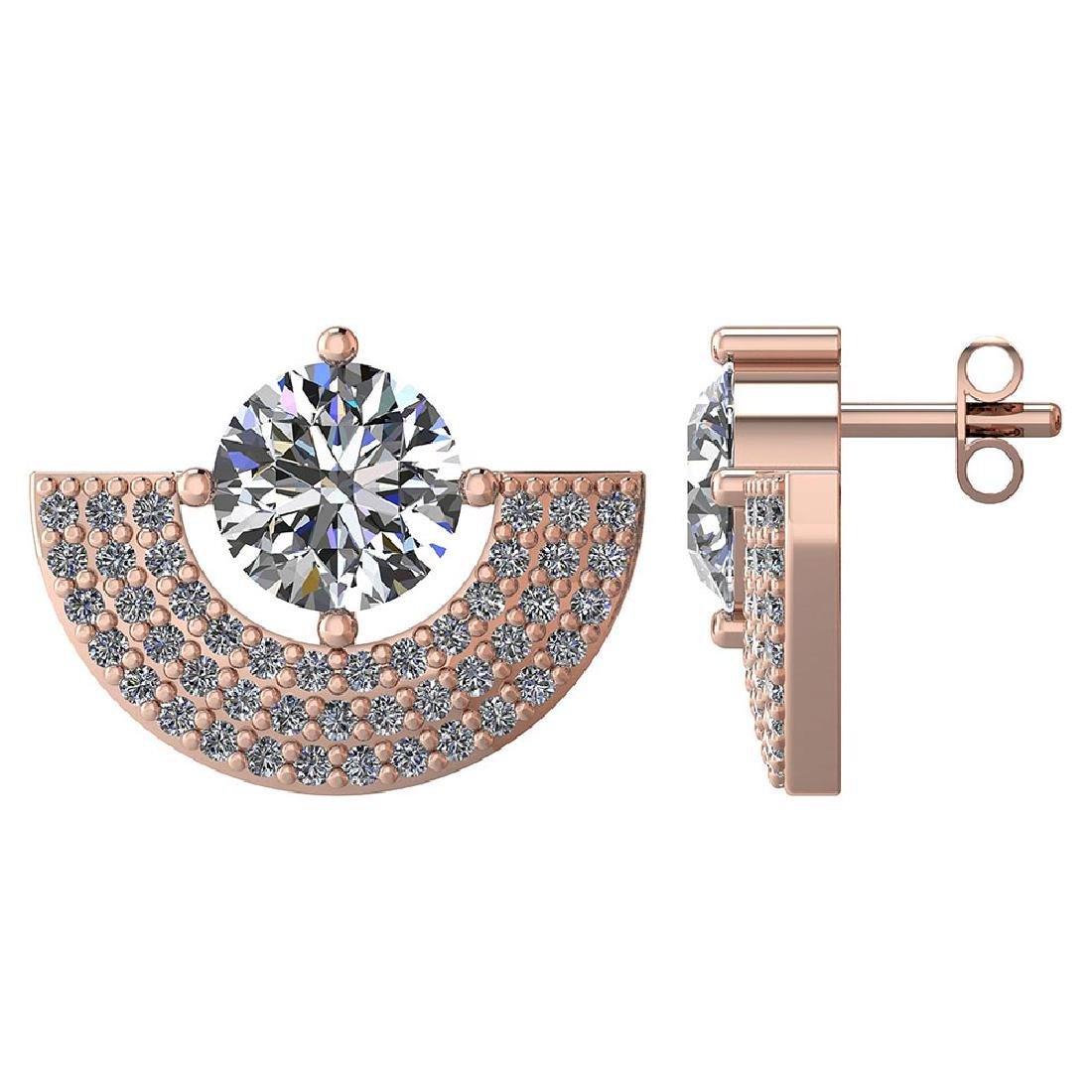 Certified 2.00 CTW Round Diamond 14K Rose Gold Earring