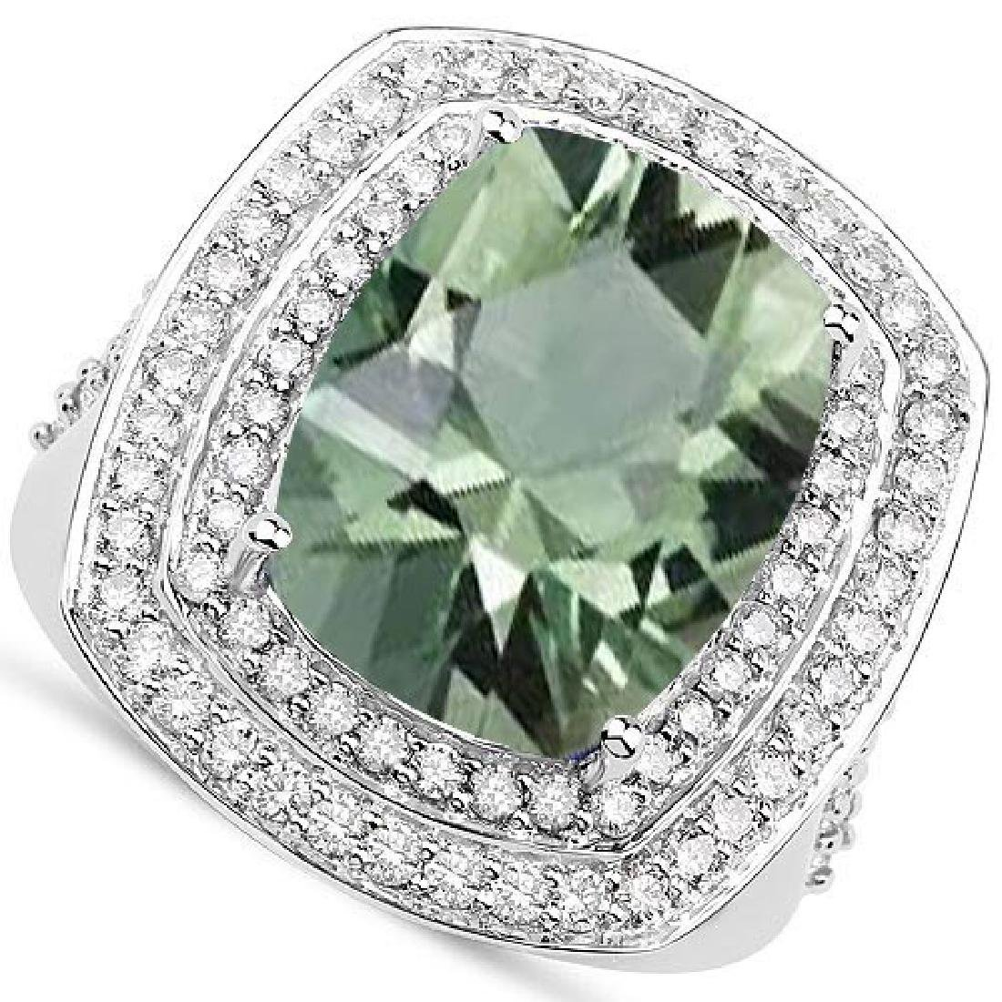 Certified 5.90 CTW Genuine Green Amethyst And Diamond 1