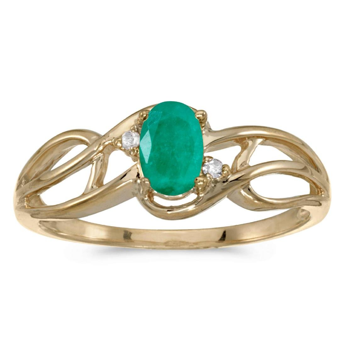 Certified 10k Yellow Gold Oval Emerald And Diamond Curv