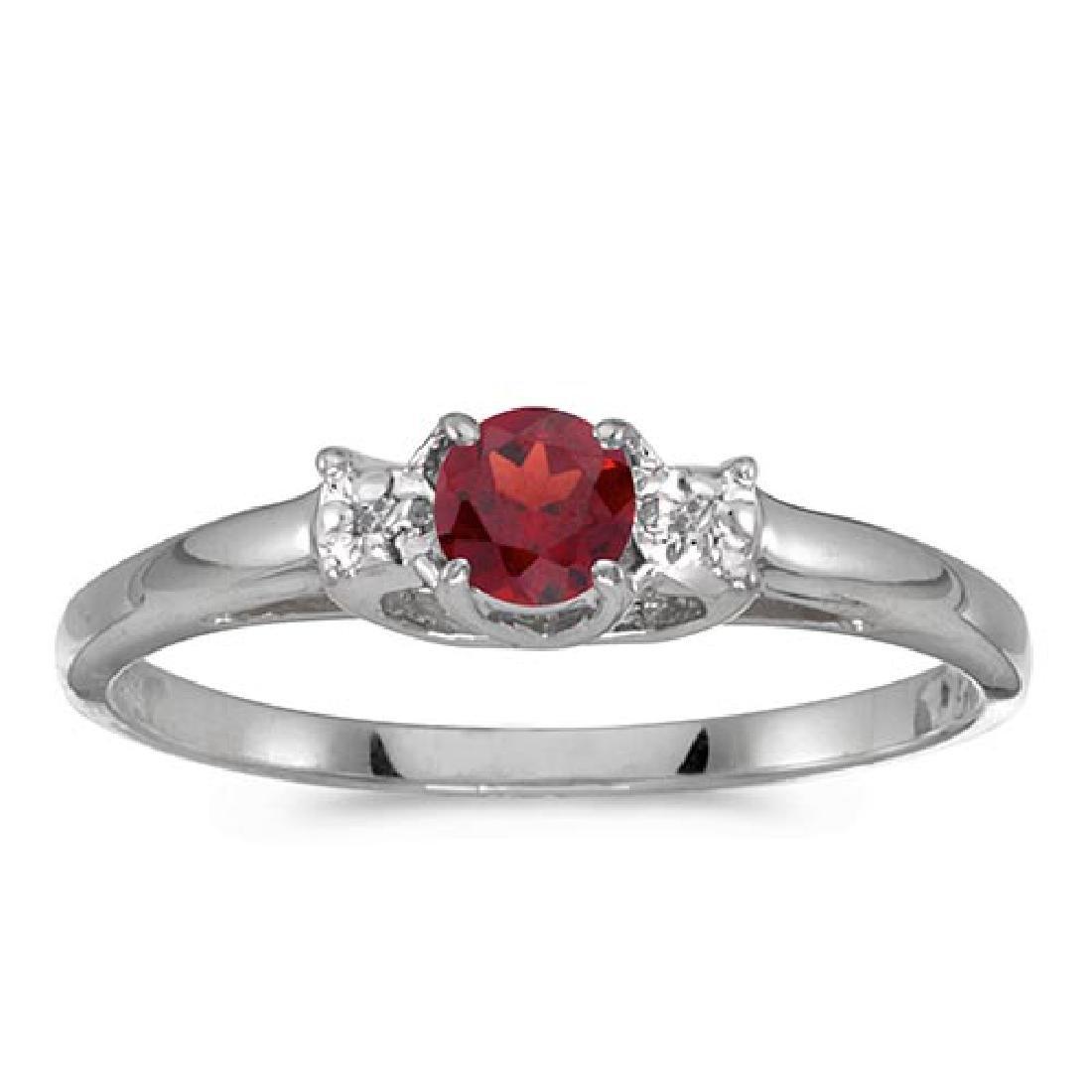 Certified 10k White Gold Round Garnet And Diamond Ring