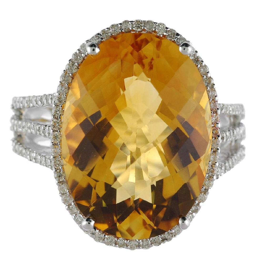 Certified 14k White Gold Large Oval Citrine And Diamond