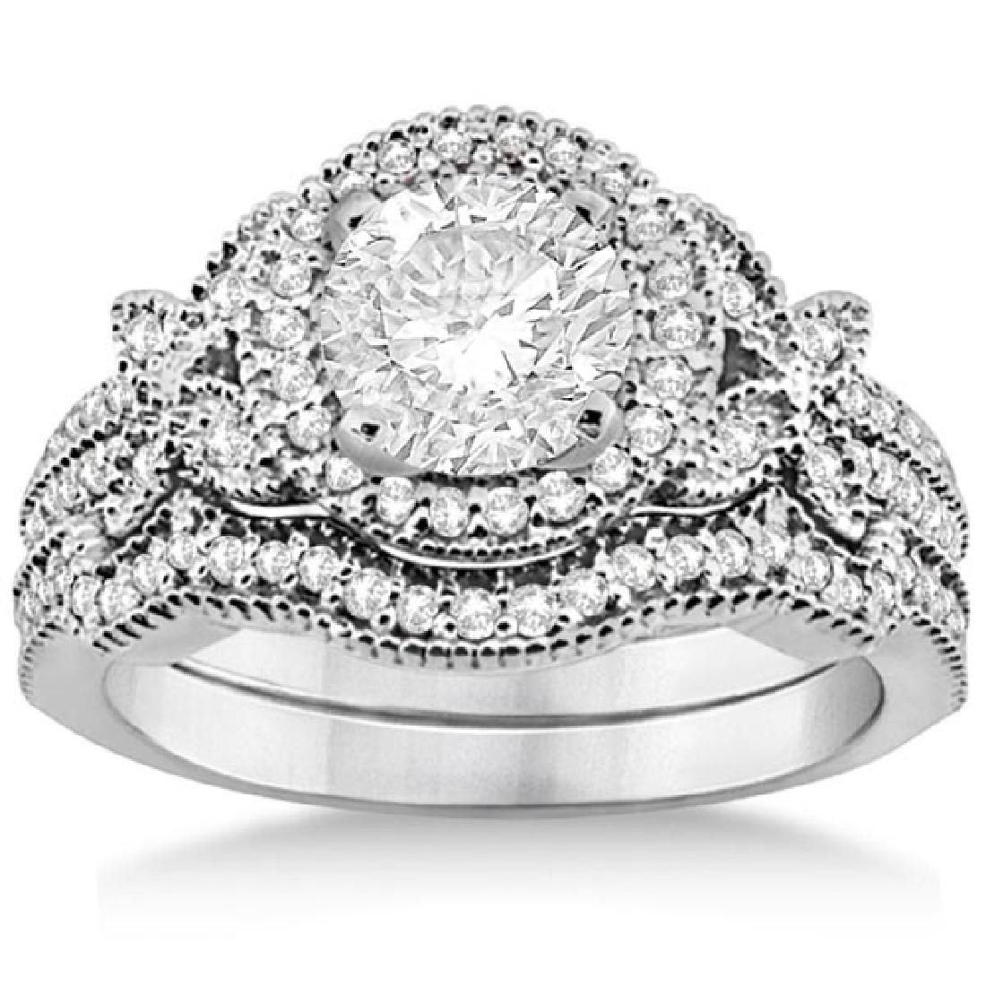 Butterfly Diamond Engagement Ring and Wedding Band 14k