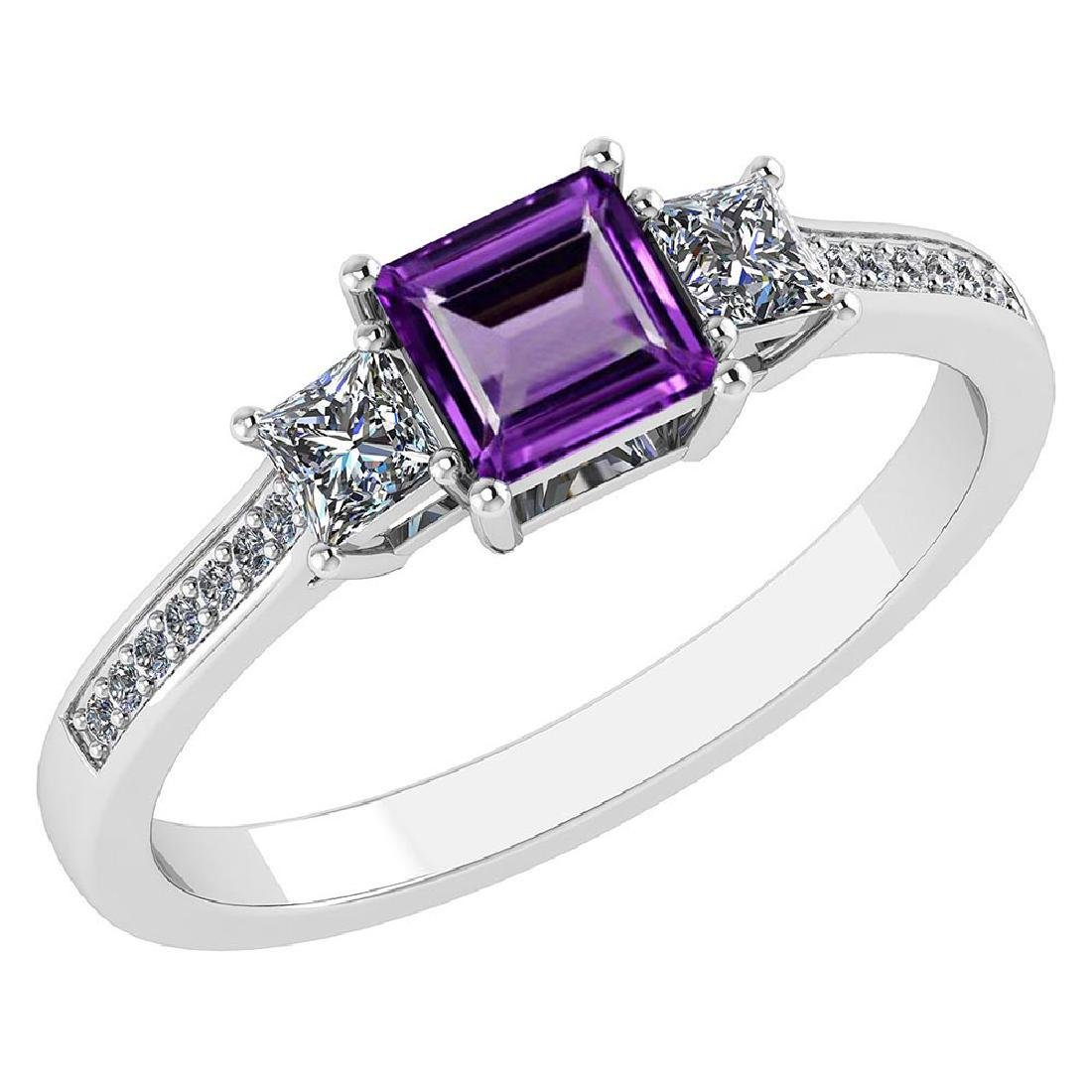 Certified 1.18CTW Genuine Amethyst And Diamond 14K Whit