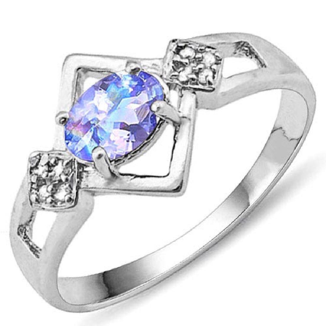 Certified 1.10 Ctw.Genuine Aquamarine And Diamond 14K w
