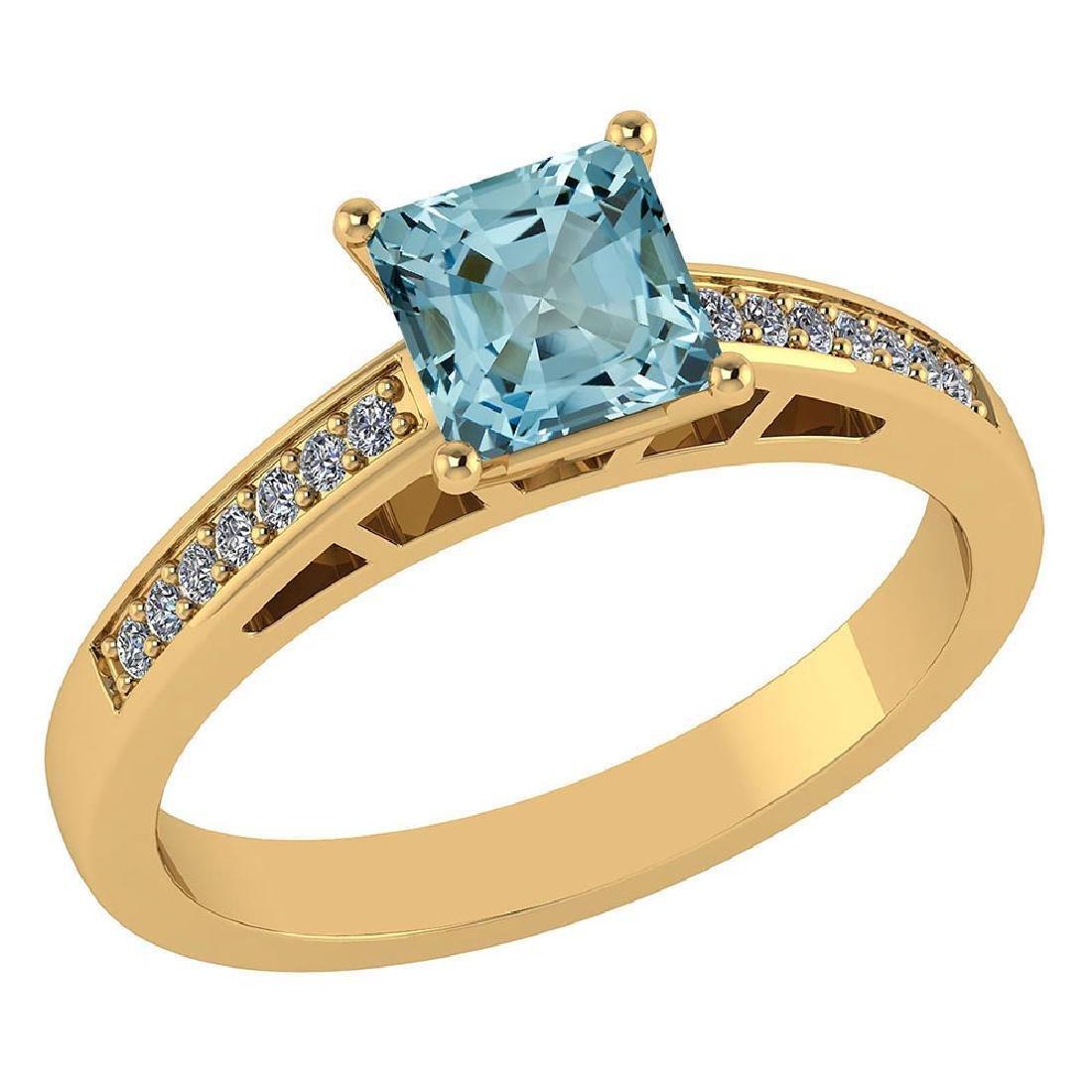 Certified .98 CTW Genuine Aquamarine And Diamond 14K Ye
