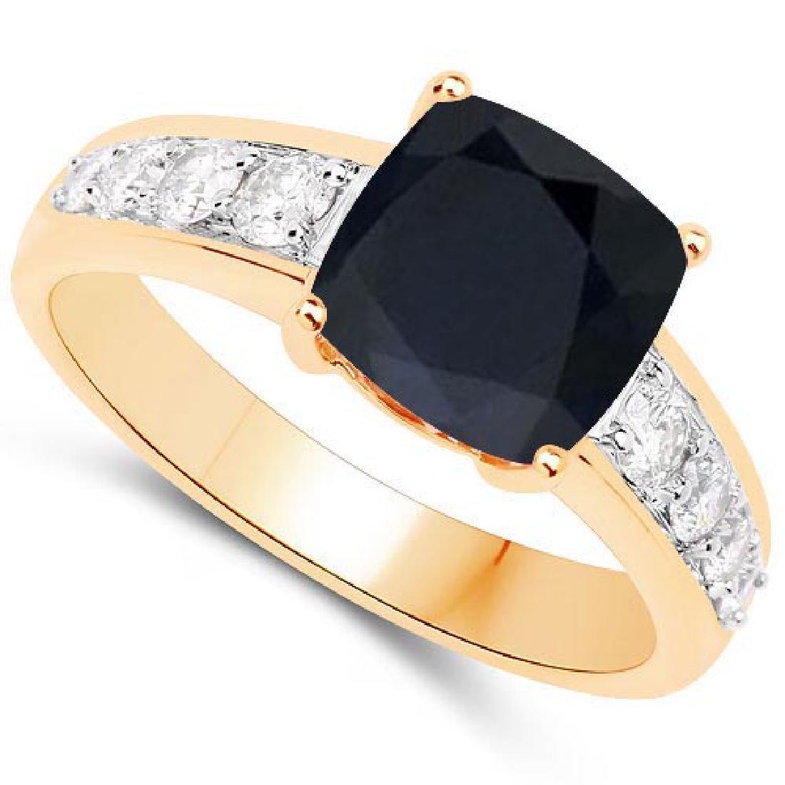 Certified 1.75 CTW Genuine Black Sapphire And Diamond 1