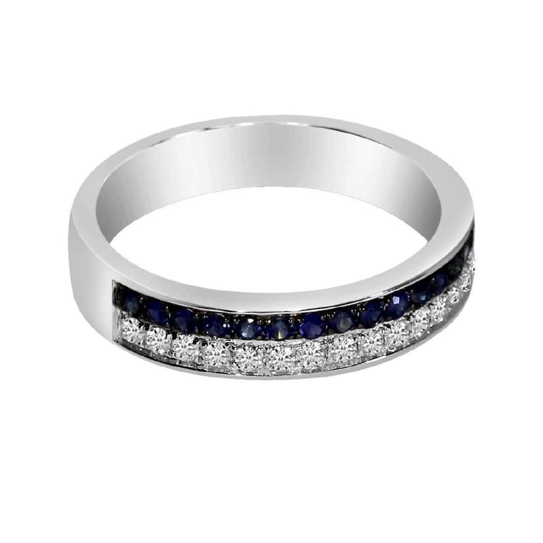 Certified 14k White Gold Double Sapphire Channel Band 0