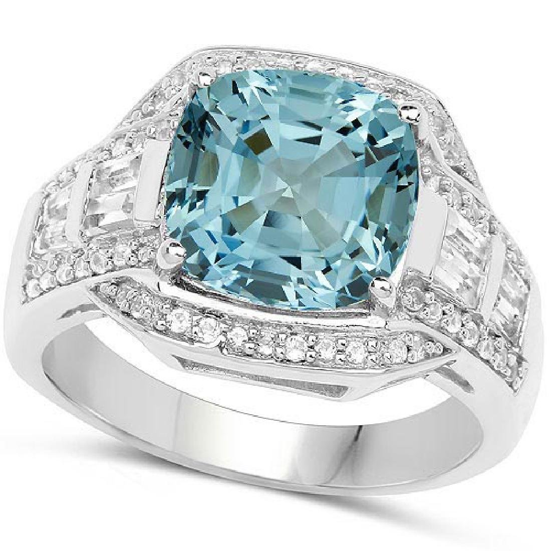 Certified 4.70 CTW Genuine Blue Topaz And Diamond 14K W