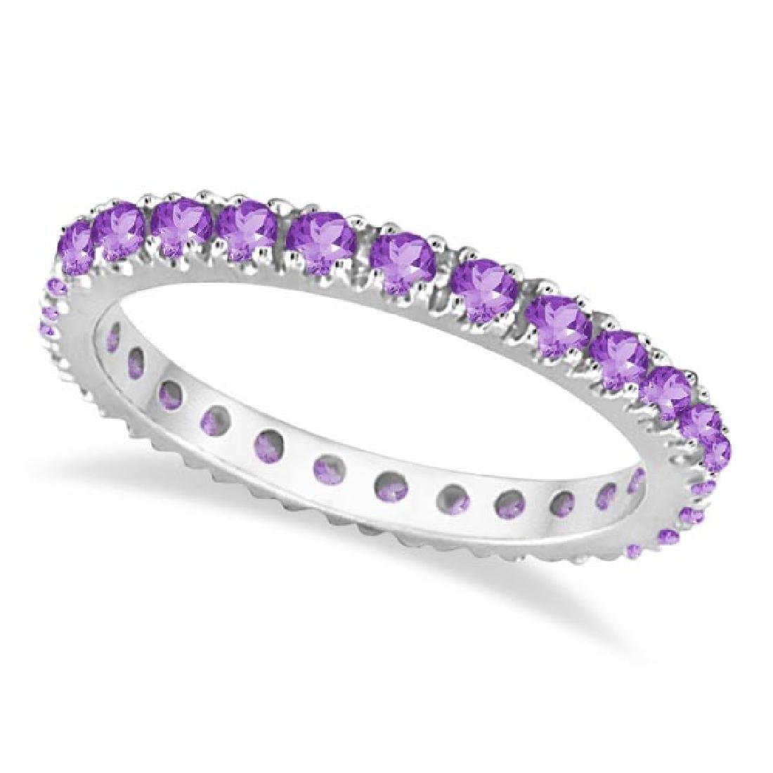 Amethyst Eternity Stackable Ring Band 14K White Gold (0