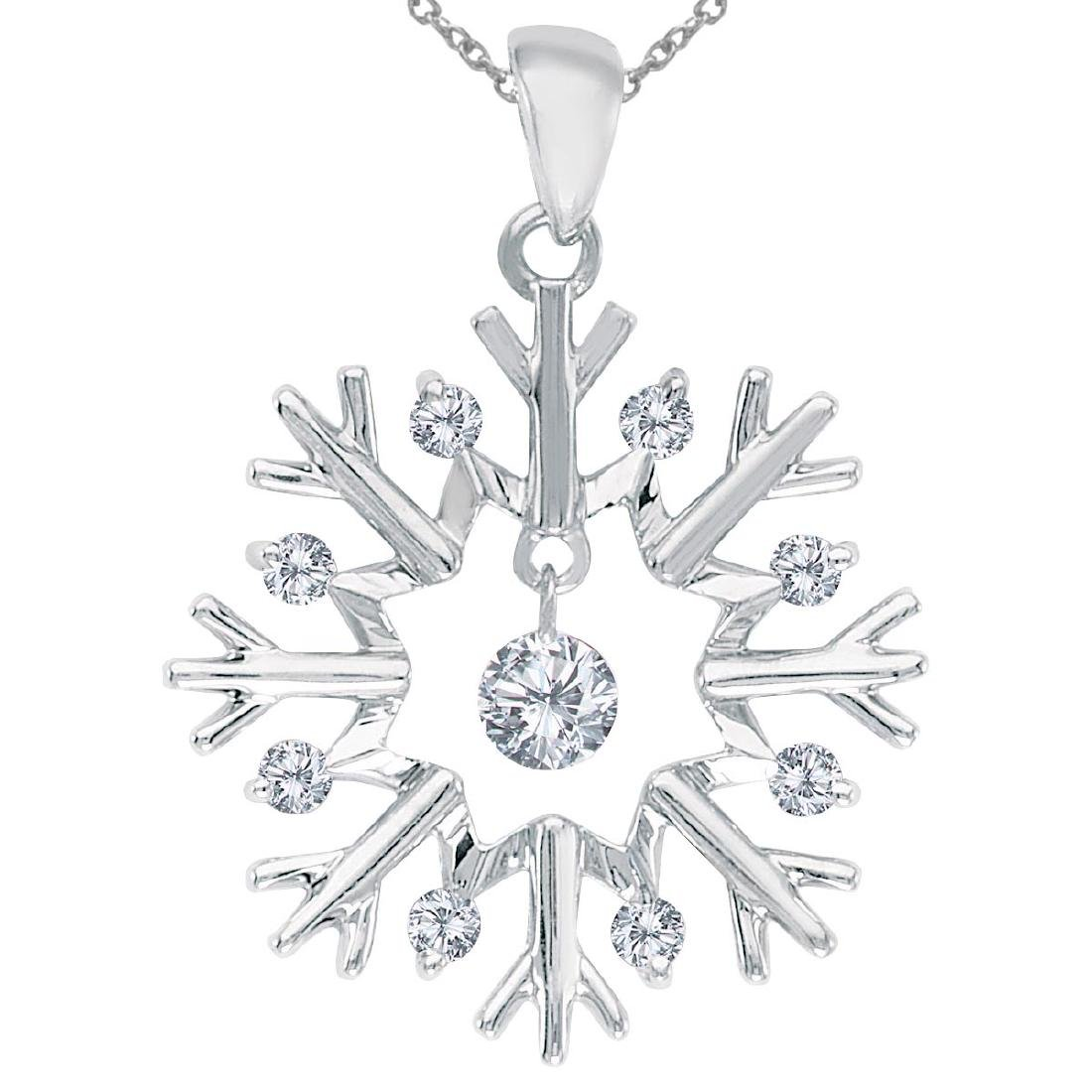 Certified 10K White Gold Dashing Diamonds Snowflake Pen