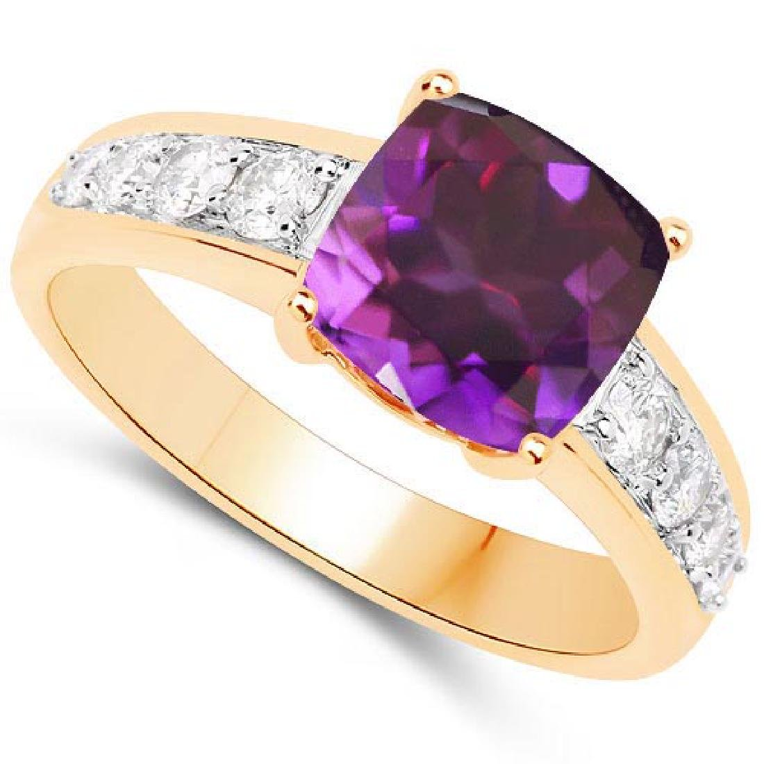 Certified 2.75 CTW Genuine Amethyst And Diamond 14K Yel