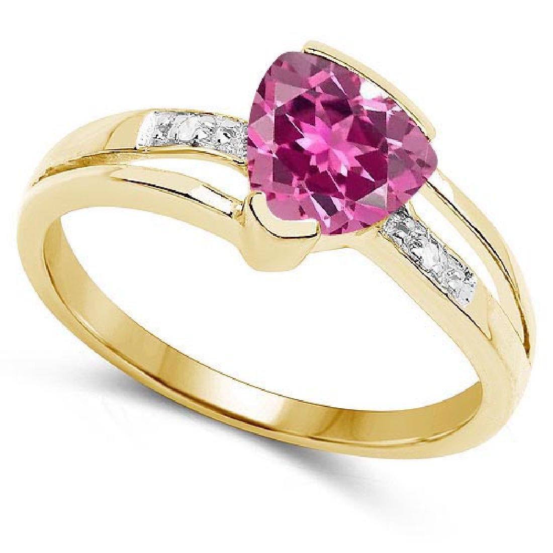 Certified 2.18 CTW Genuine Pink Touramline And Diamond