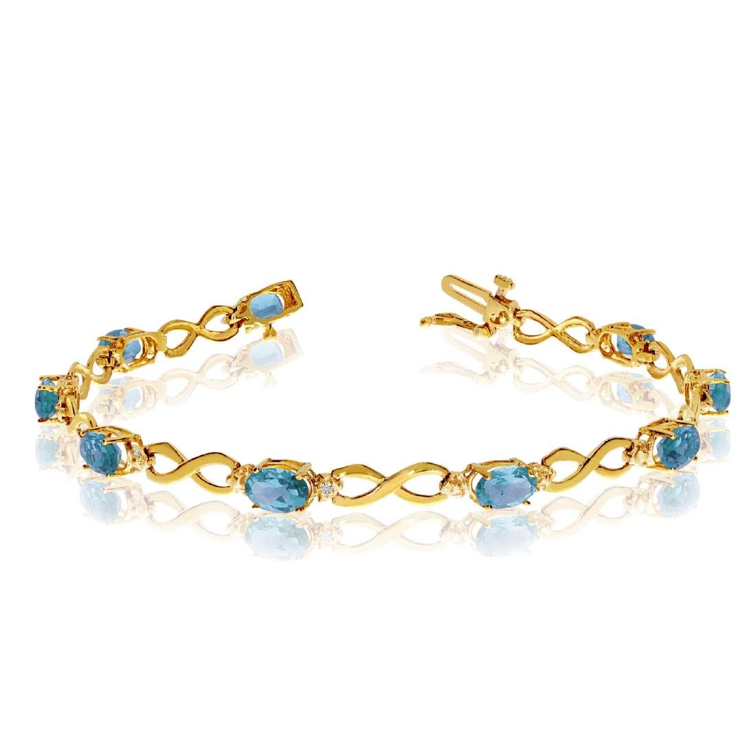 Certified 10K Yellow Gold Oval Blue Topaz and Diamond B