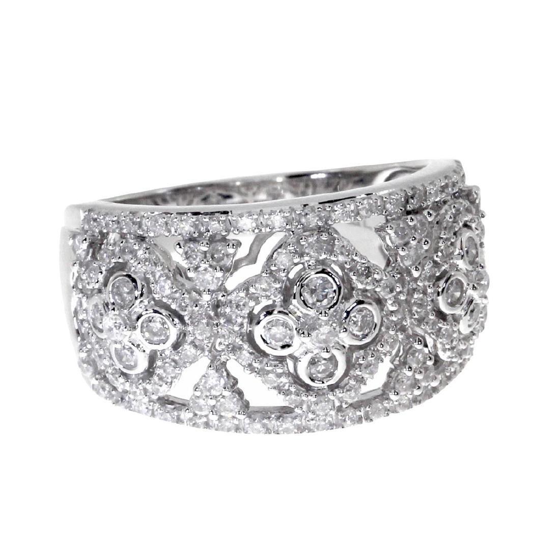 Certified 14k White Gold Diamond Clover Fashion Band 0.