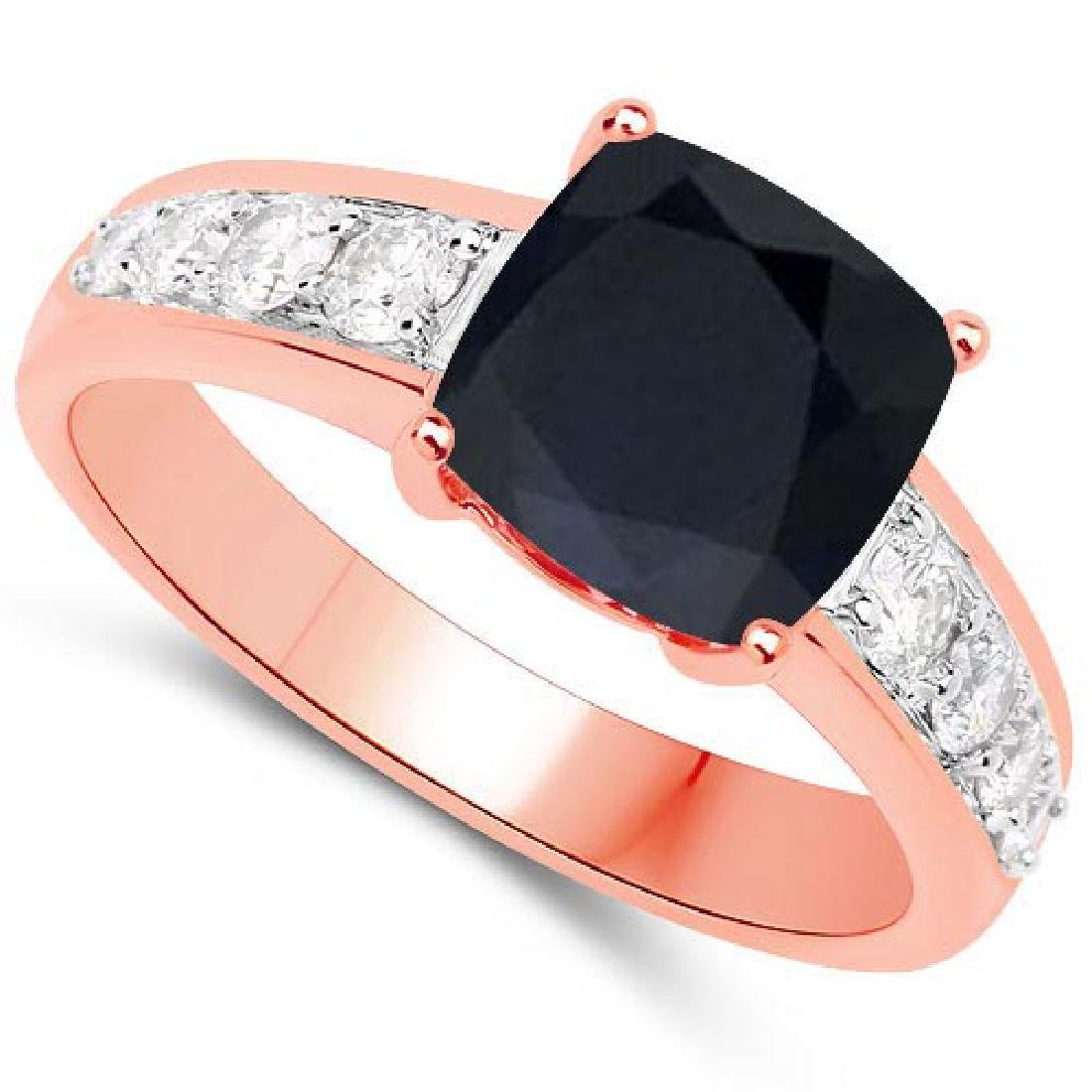 Certified 2.45 CTW Genuine Black Sapphire And Diamond 1