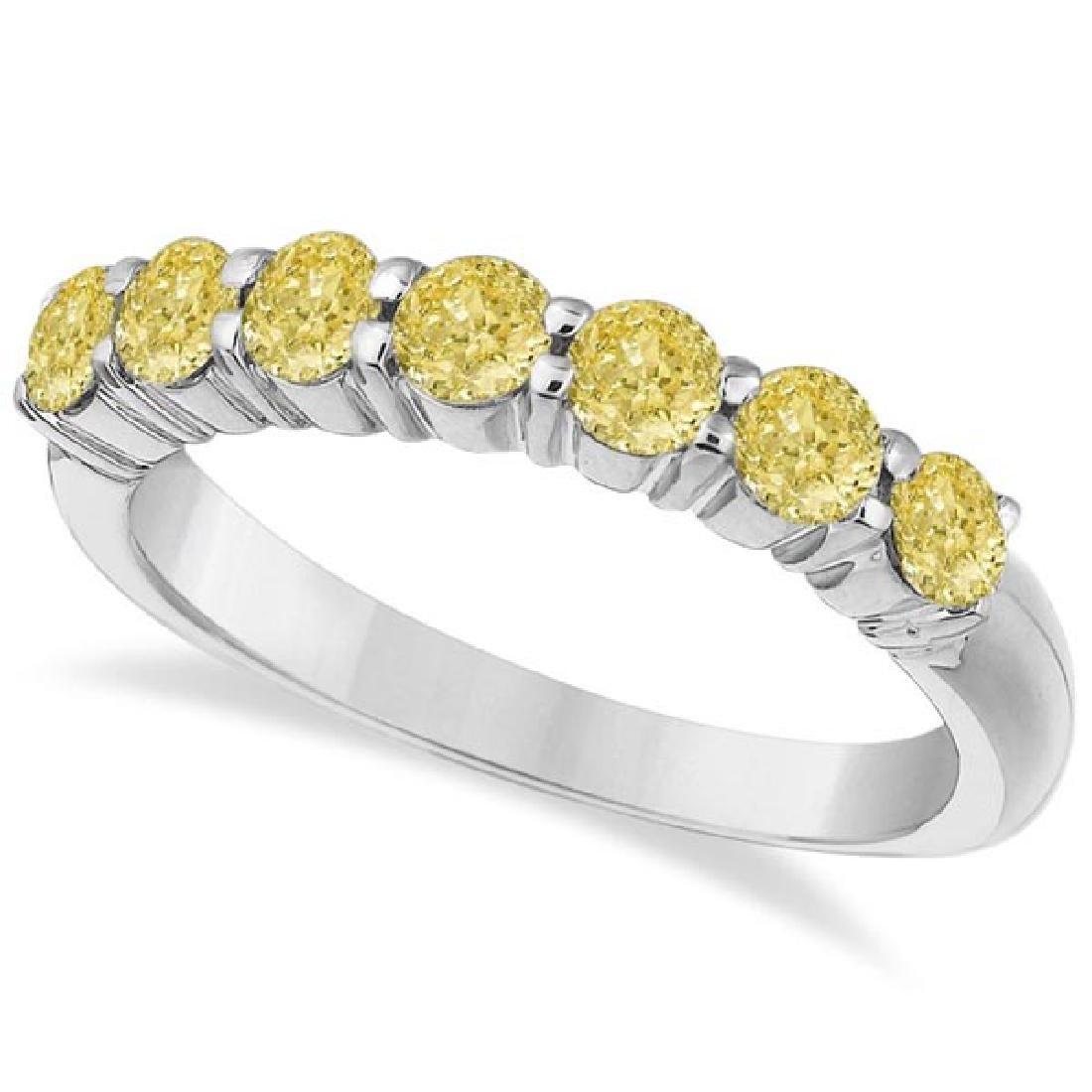 Seven-Stone Fancy Yellow Diamond Ring Band 14k White Go