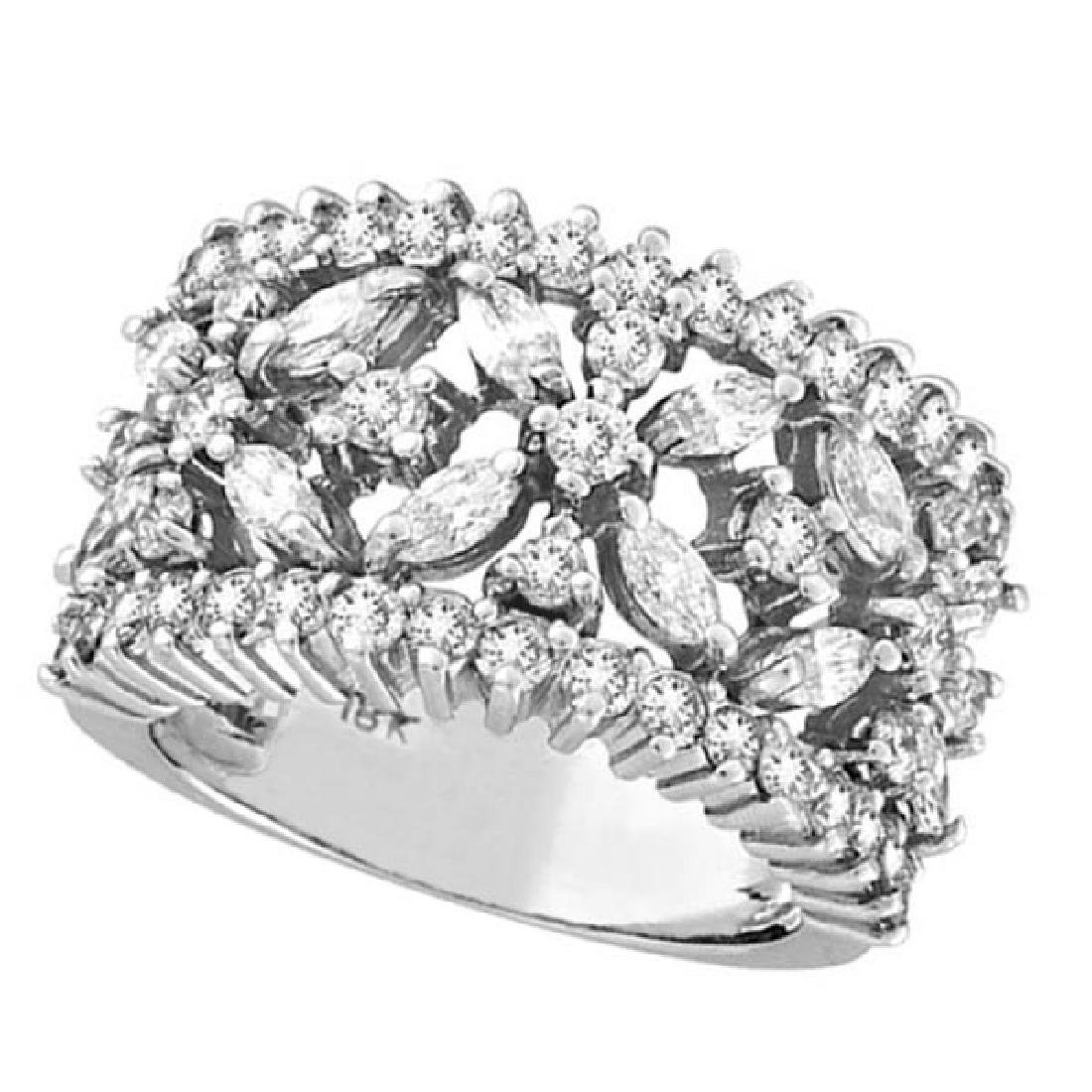 Marquise and Round Diamond Flower Ring in 18K White Gol