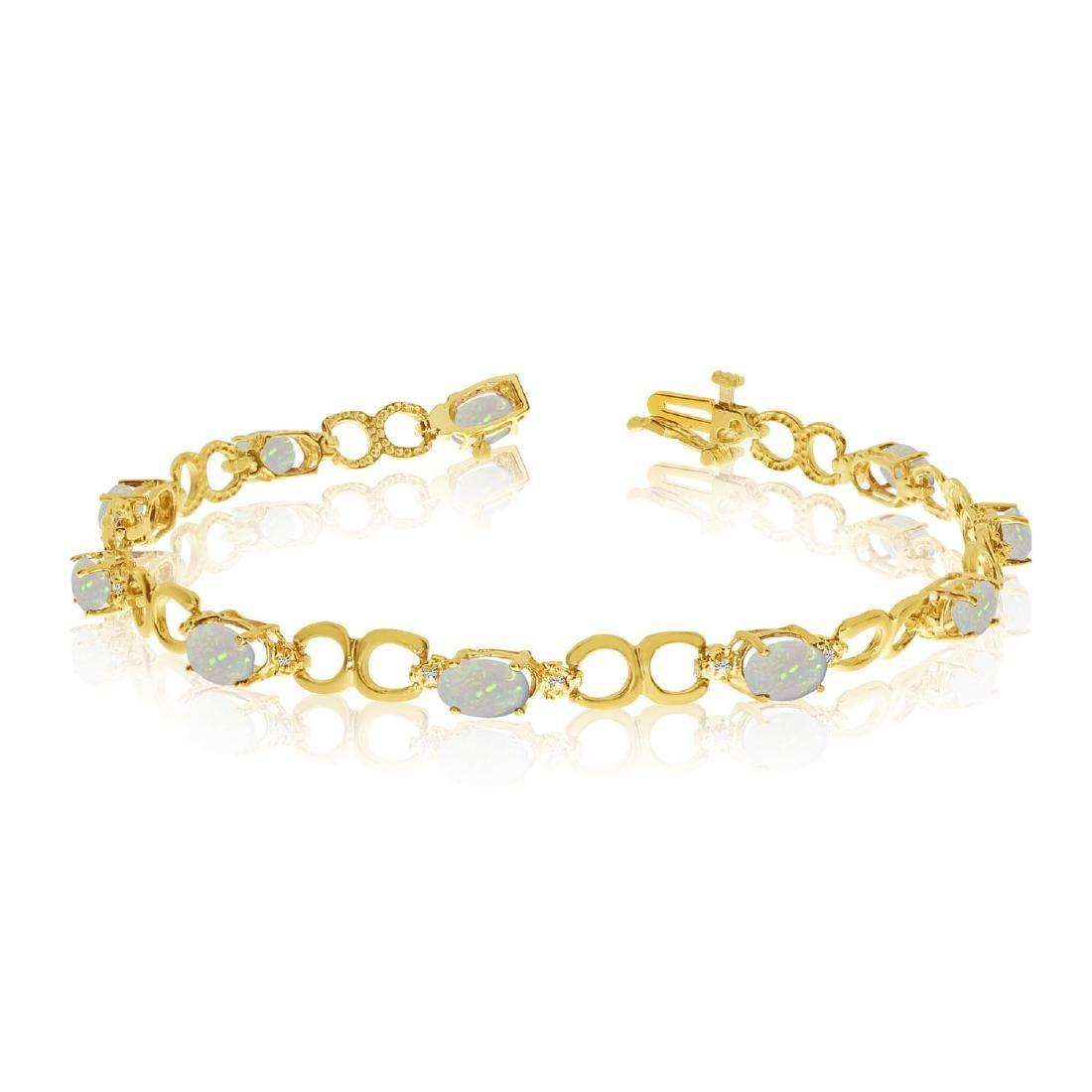 Certified 14K Yellow Gold Oval Opal and Diamond Bracele