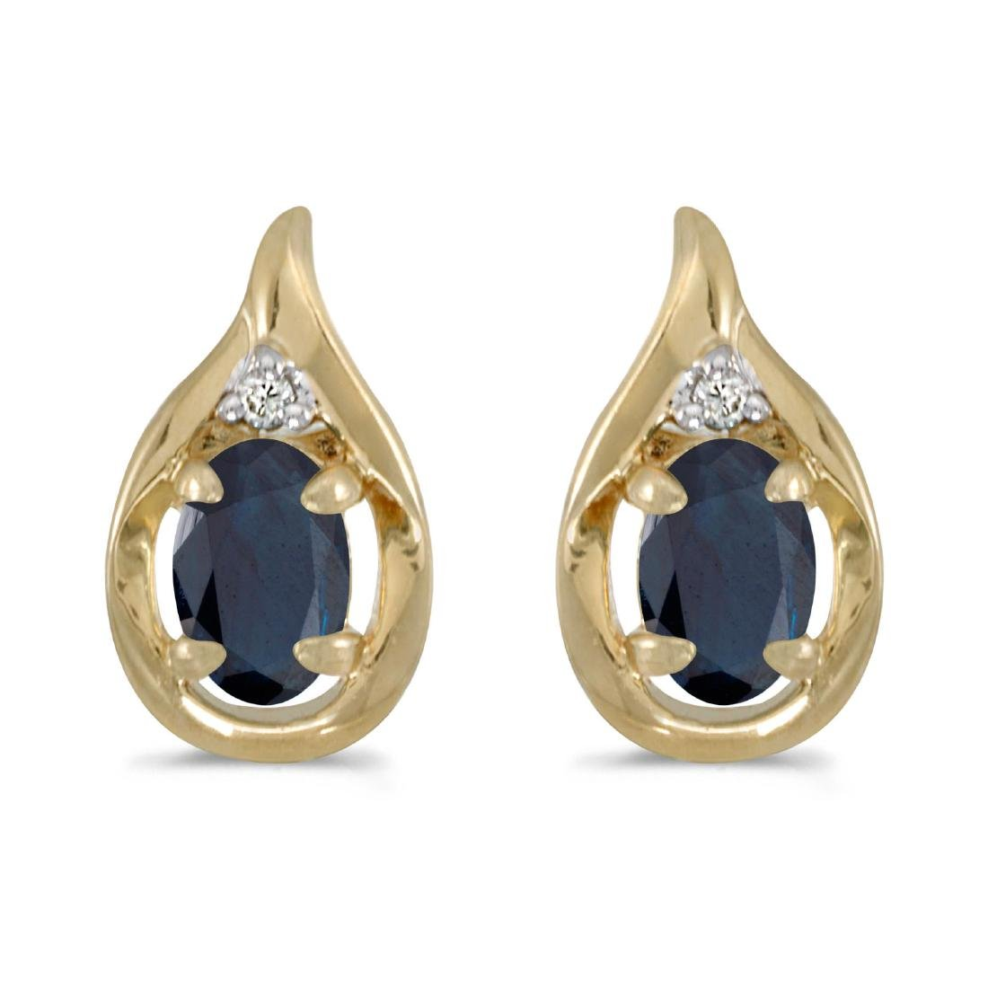 Certified 10k Yellow Gold Oval Sapphire And Diamond Ear