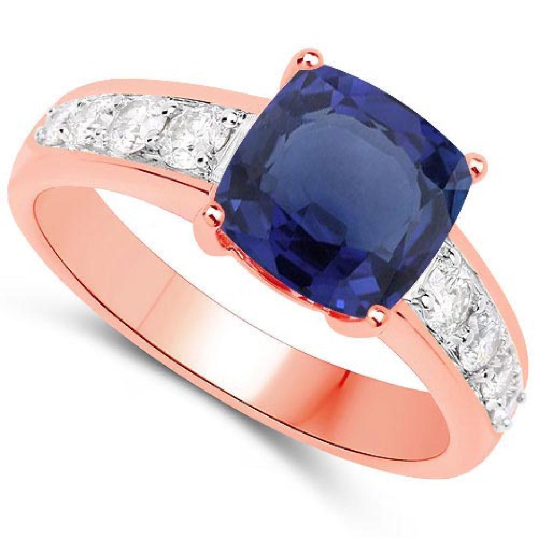 Certified 2.45 CTW Genuine Blue Sapphire And Diamond 14