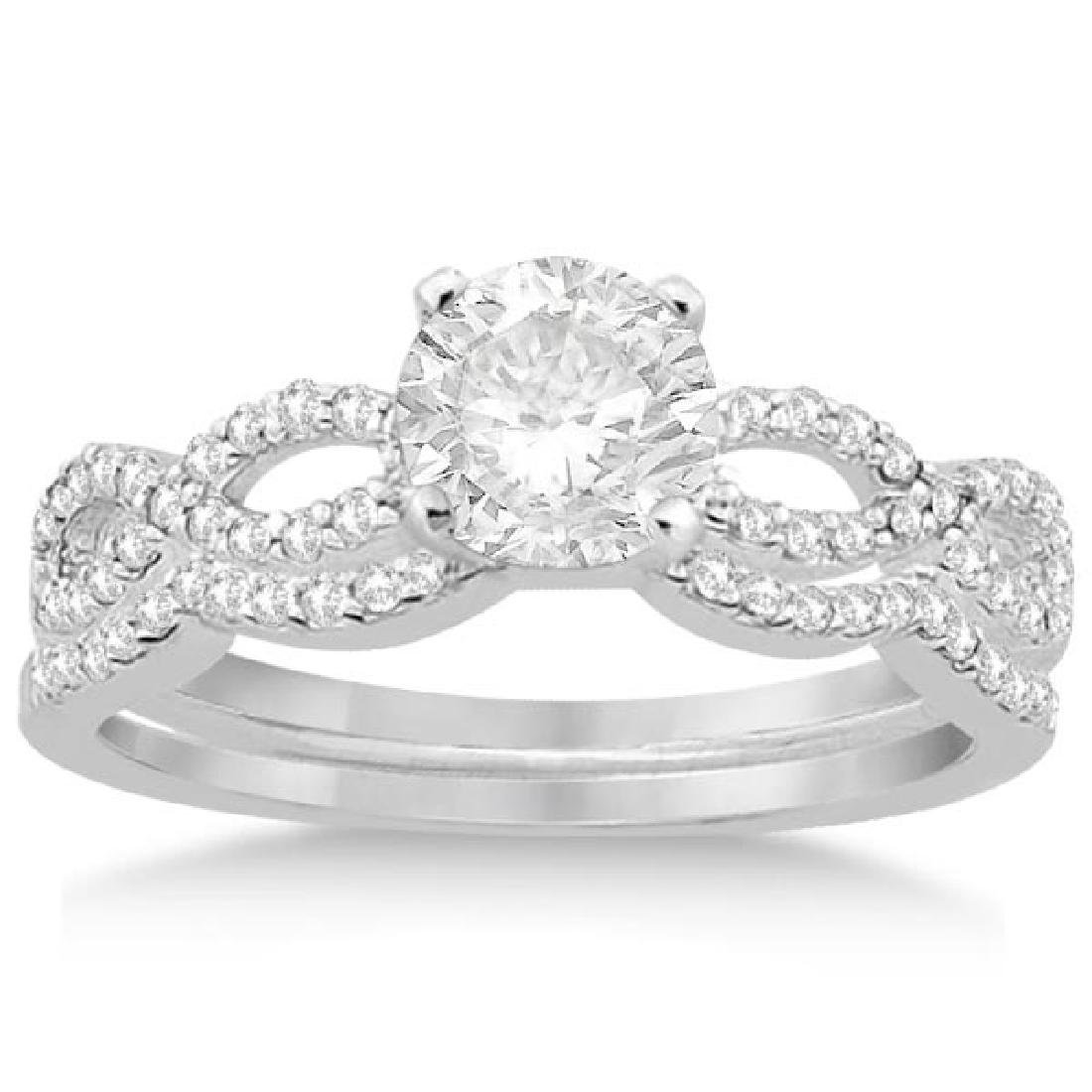 Infinity Twisted Diamond Matching Bridal Set in 18K Whi
