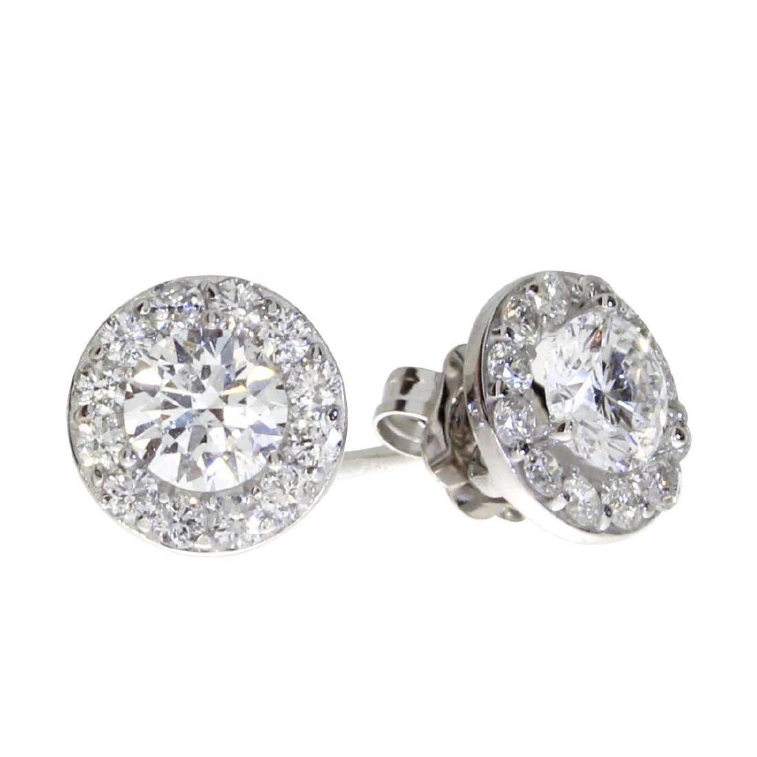 Certified 14K White Gold .79 ct Diamond Halo Stud Earri