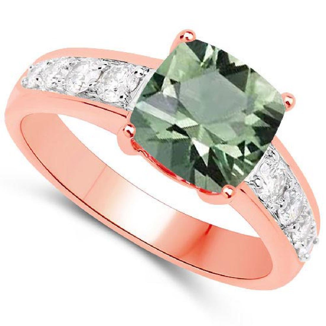 Certified 2.35 CTW Genuine Green Amethyst And Diamond 1