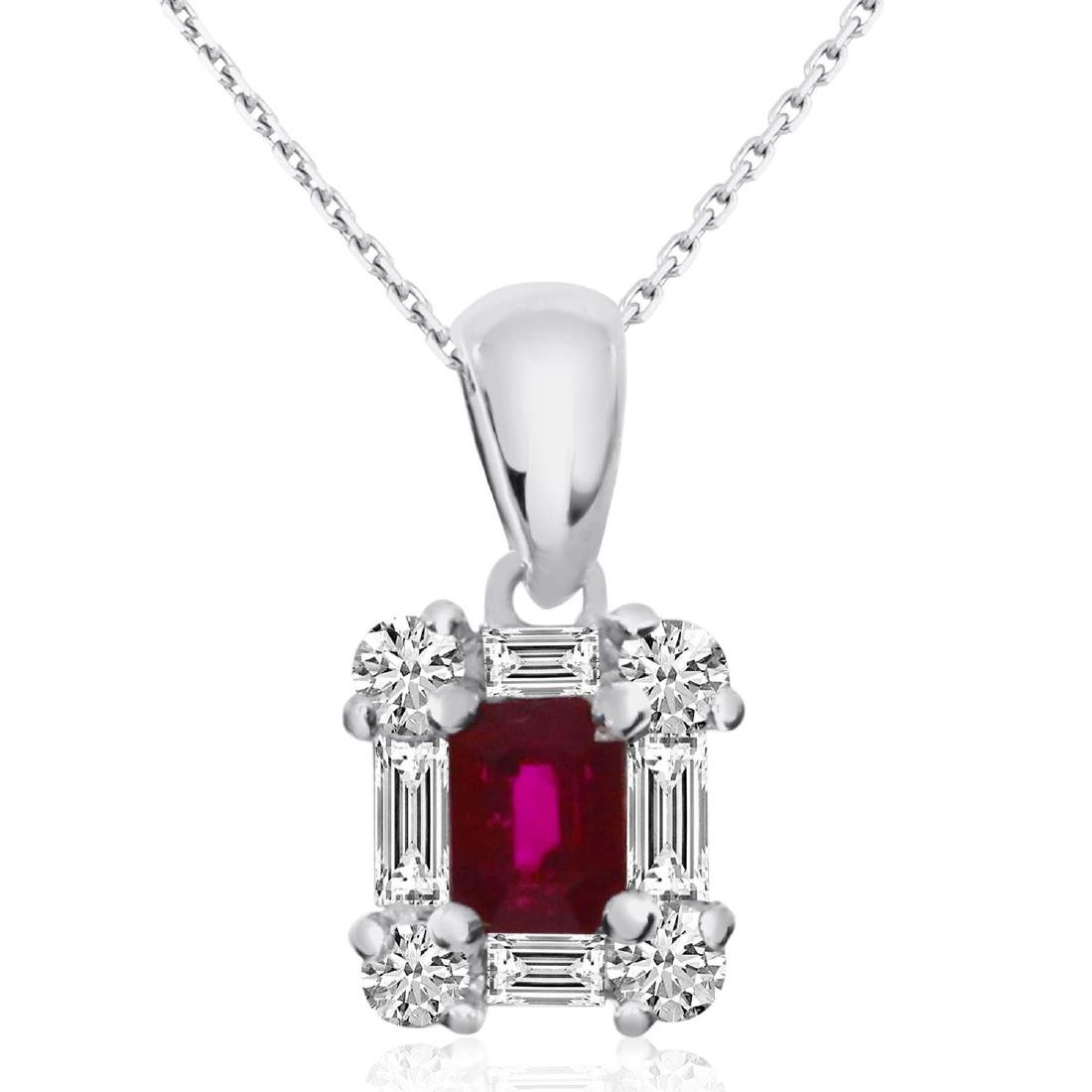Certified 14k White Gold Ruby and Diamond Baguette Pend