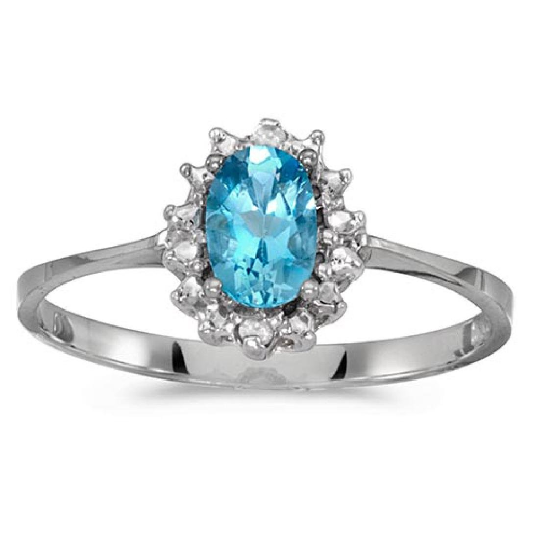 Certified 14k White Gold Oval Blue Topaz And Diamond Ri