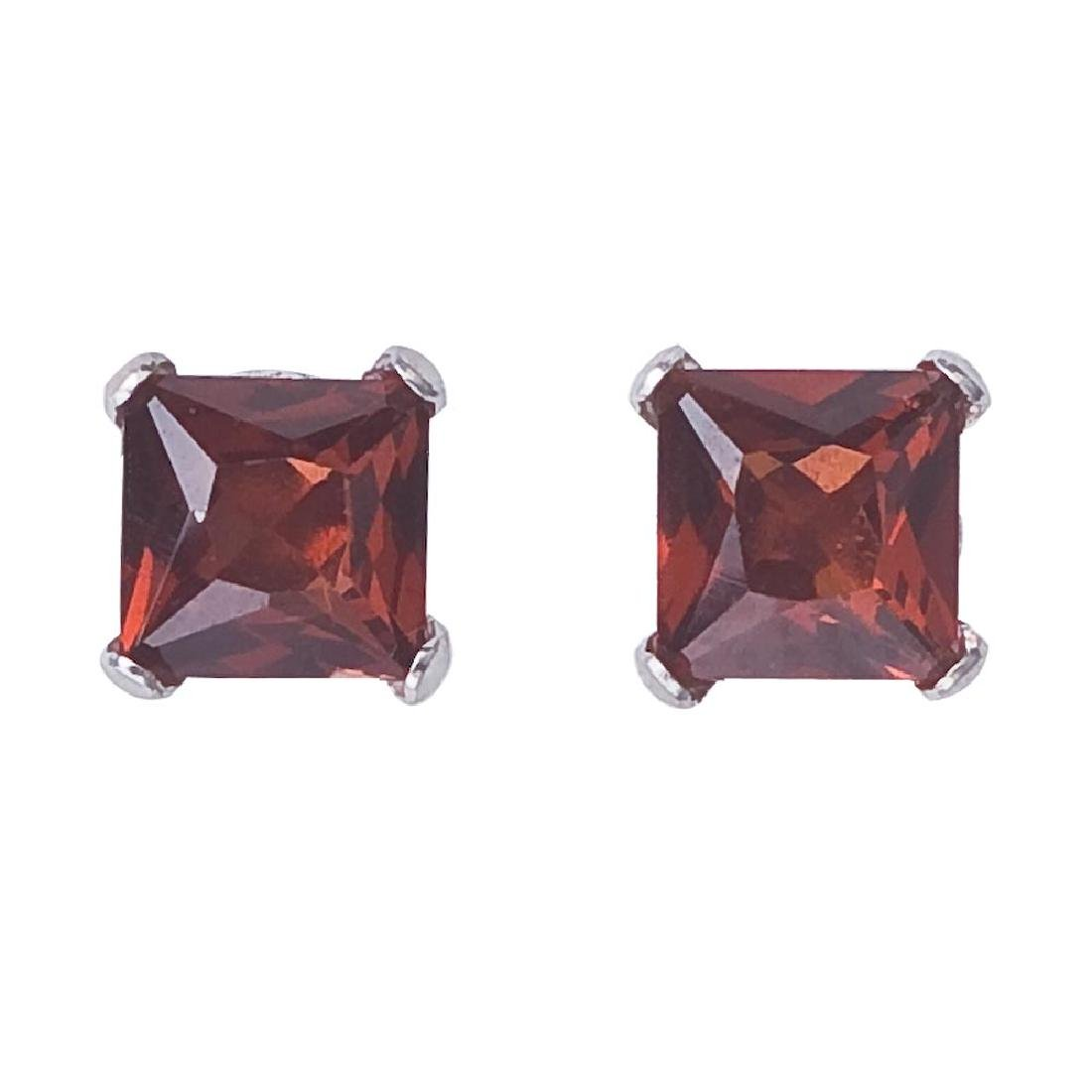 Certified 14k White Gold Square Garnet Stud Earrings