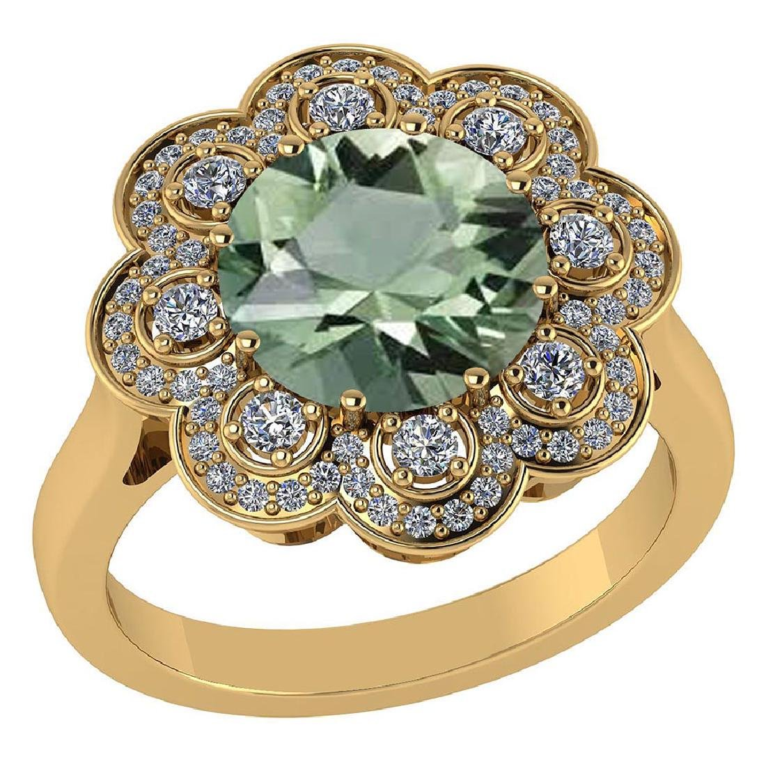 Certified 4.42 CTW Genuine Green Amethyst And Diamond 1