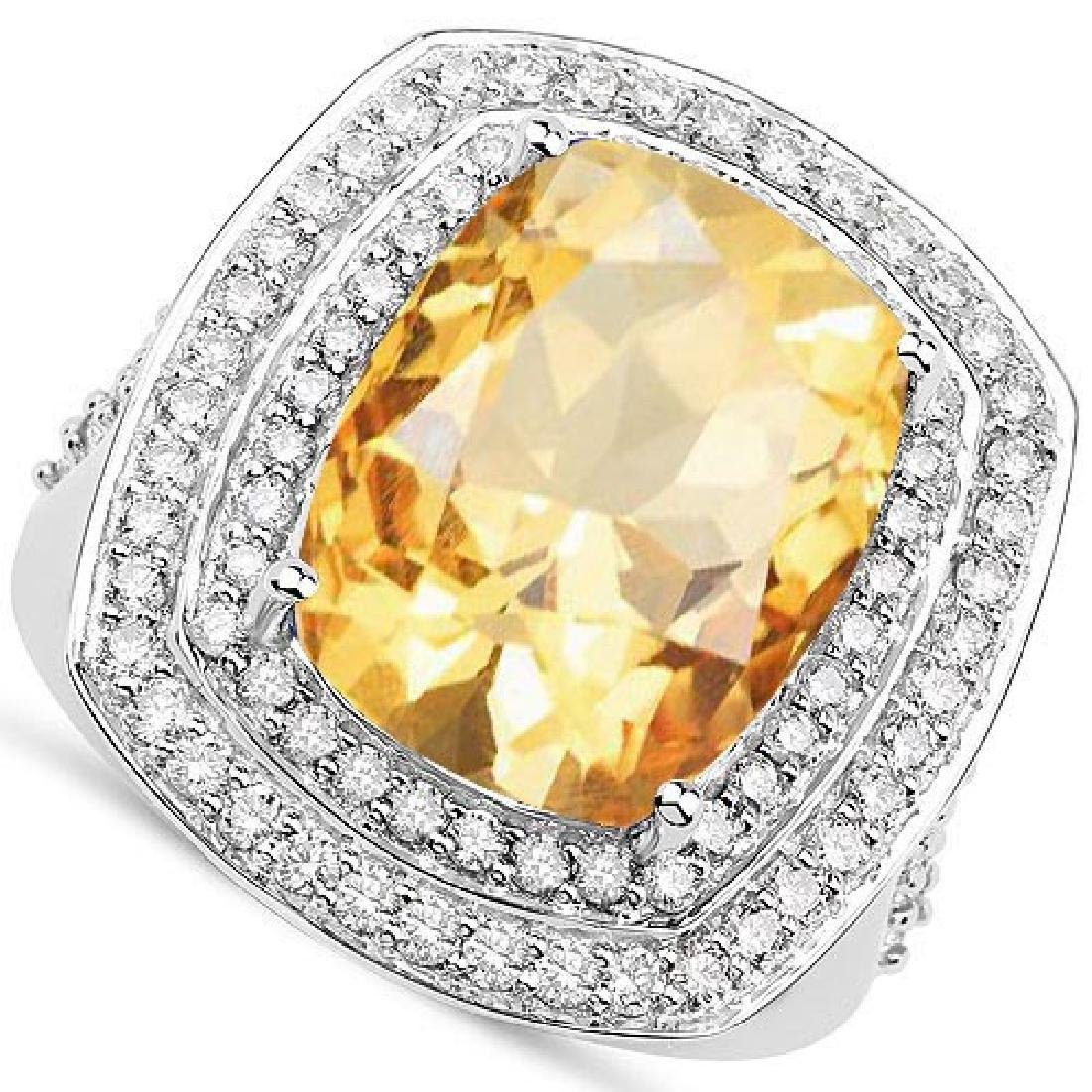 Certified 6.90 CTW Genuine Citrine And Diamond 14K Whit