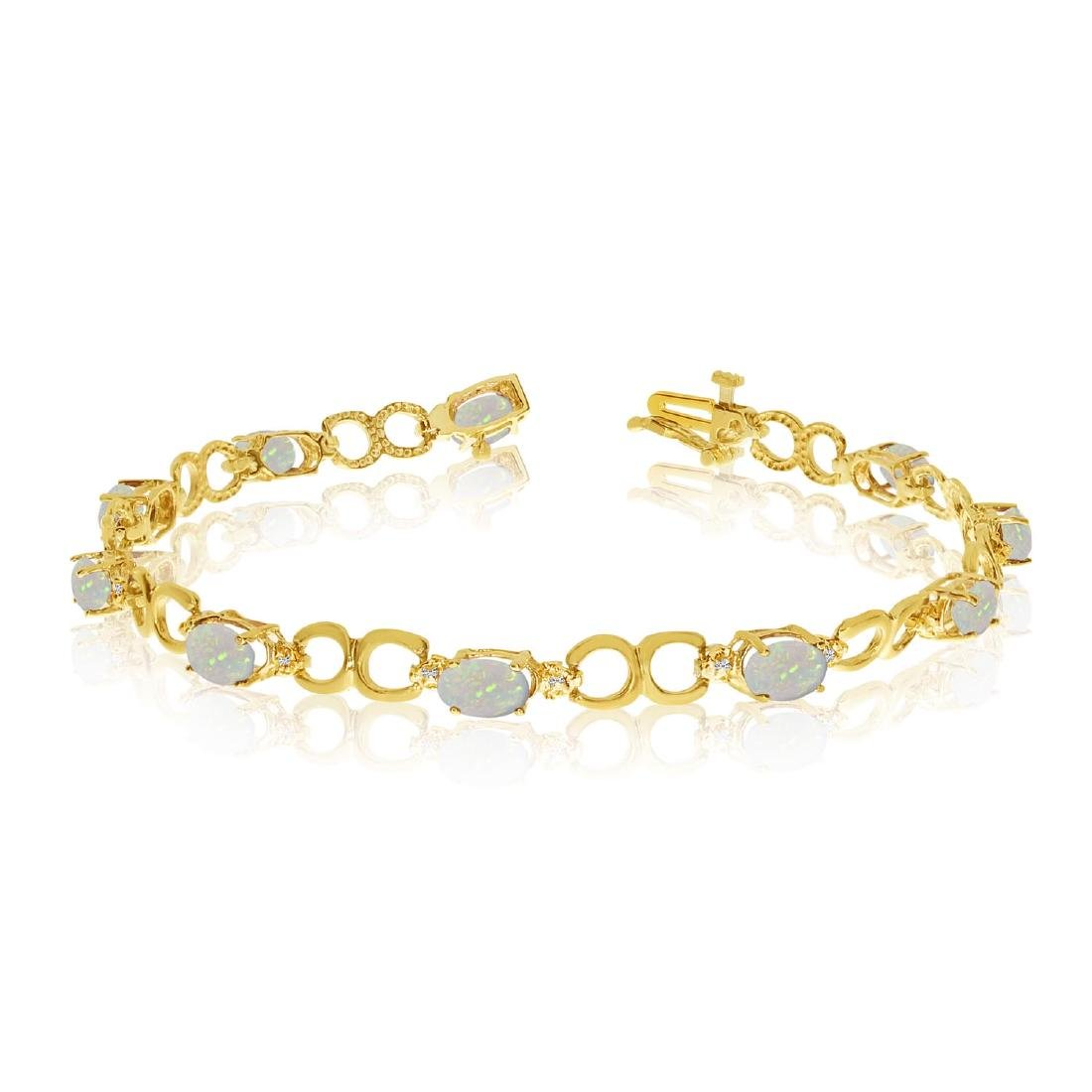 Certified 10K Yellow Gold Oval Opal and Diamond Bracele